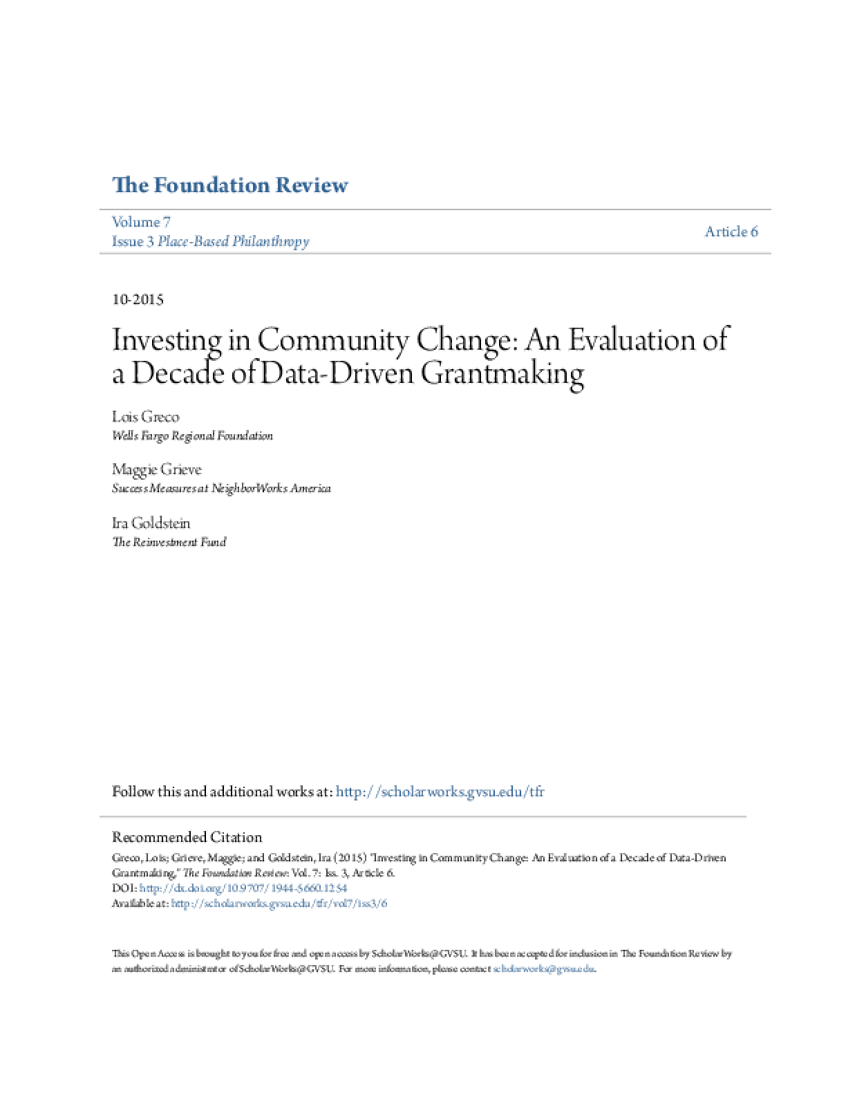 Investing in Community Change: An Evaluation of a Decade of Data-Driven Grantmaking