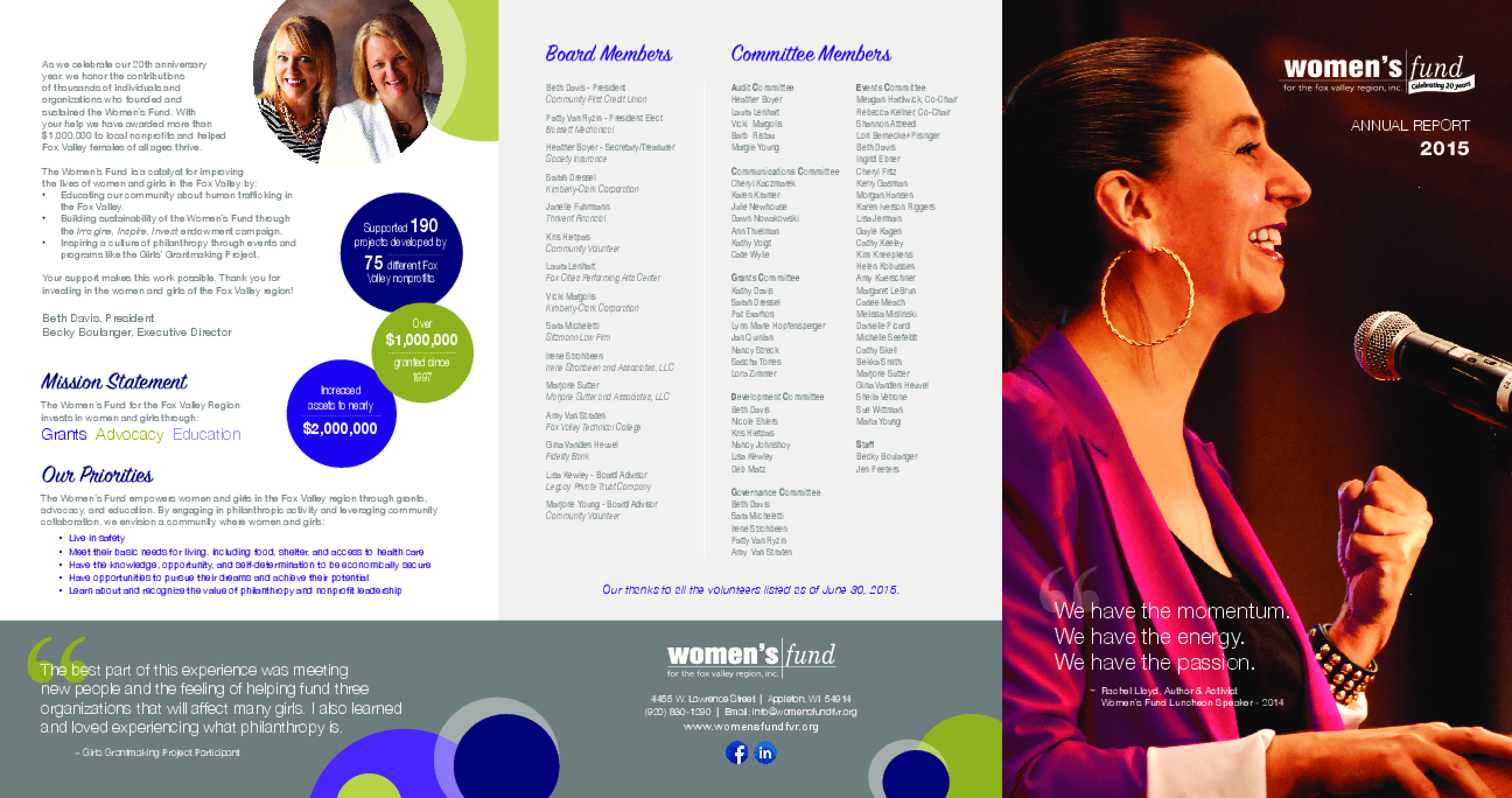 Women's Fund for the Fox Valley Region, Annual Report 2015