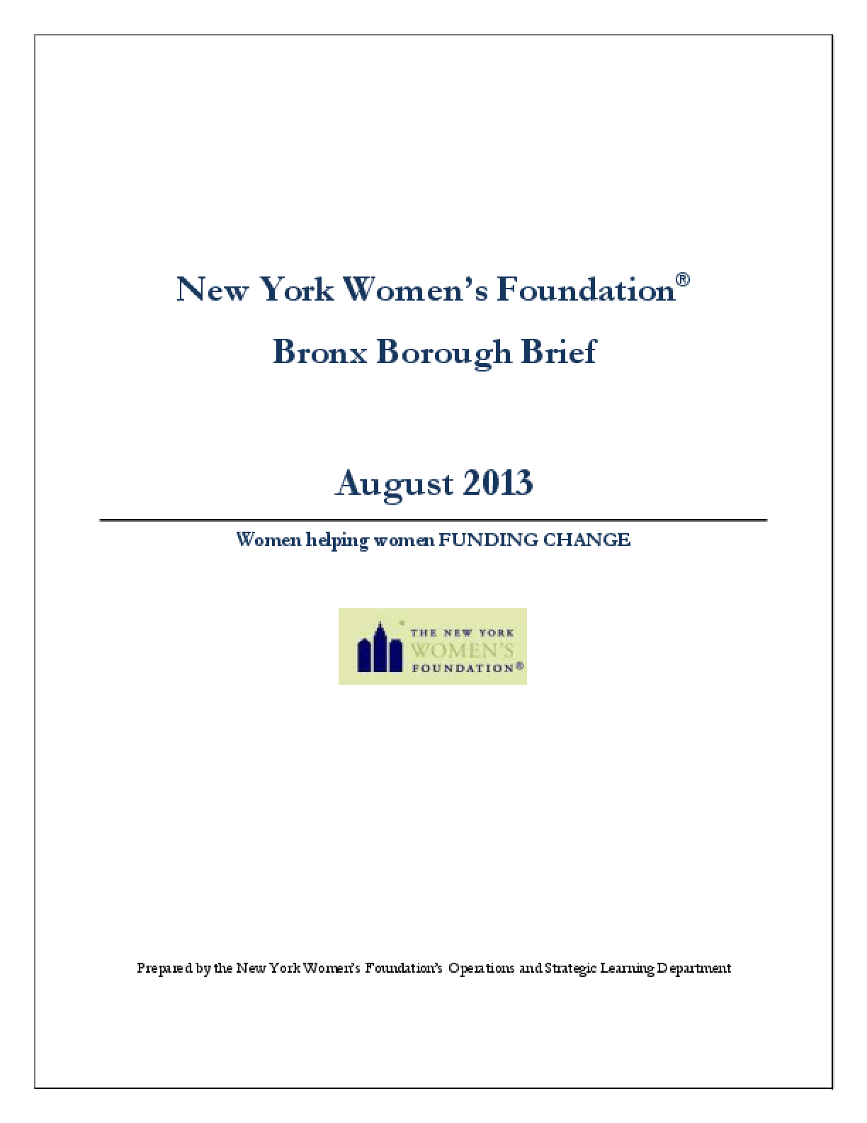 New York Women's Foundation Bronx Borough Brief