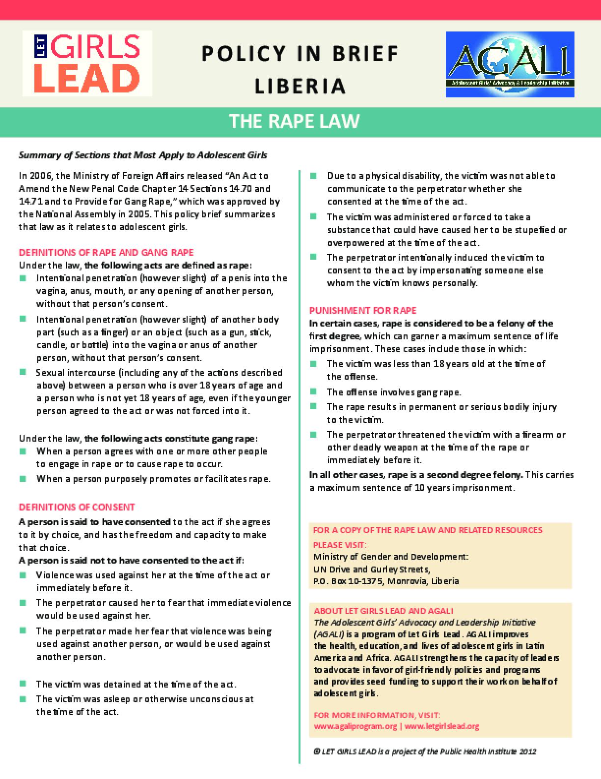 Liberia Rape Law