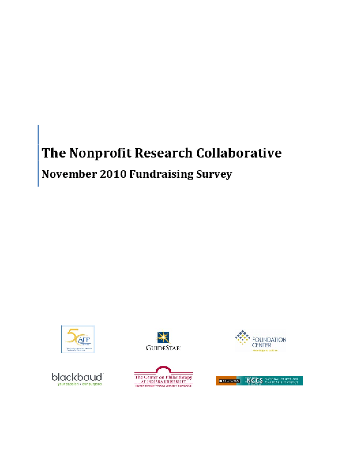 The Nonprofit Research Collaborative: November 2010 Fundraising Survey