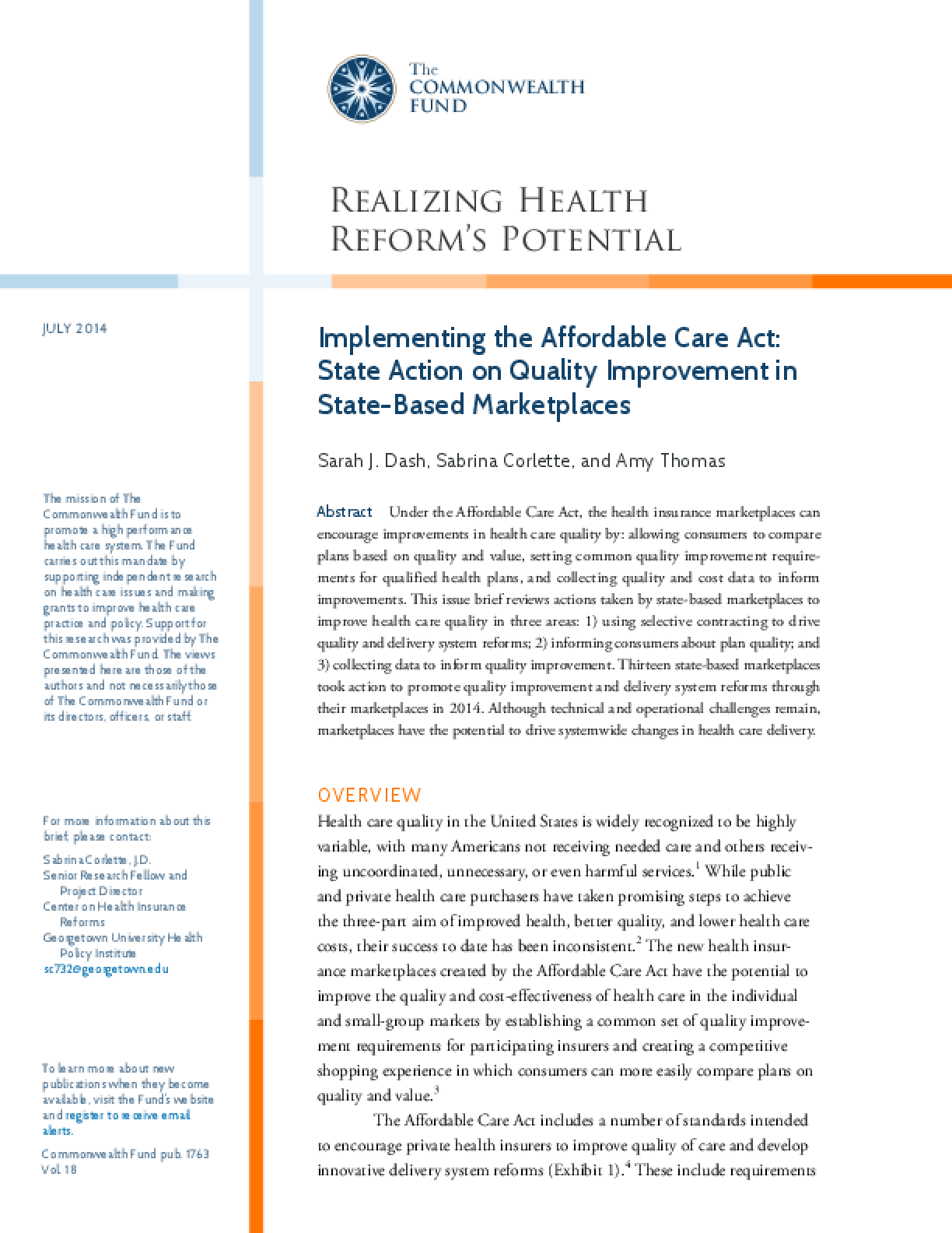 Implementing the Affordable Care Act: State Action on Quality Improvement in State-Based Marketplaces