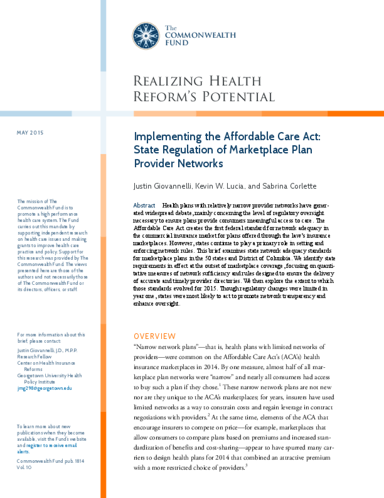 Implementing the Affordable Care Act: State Regulation of Marketplace Plan Provider Networks