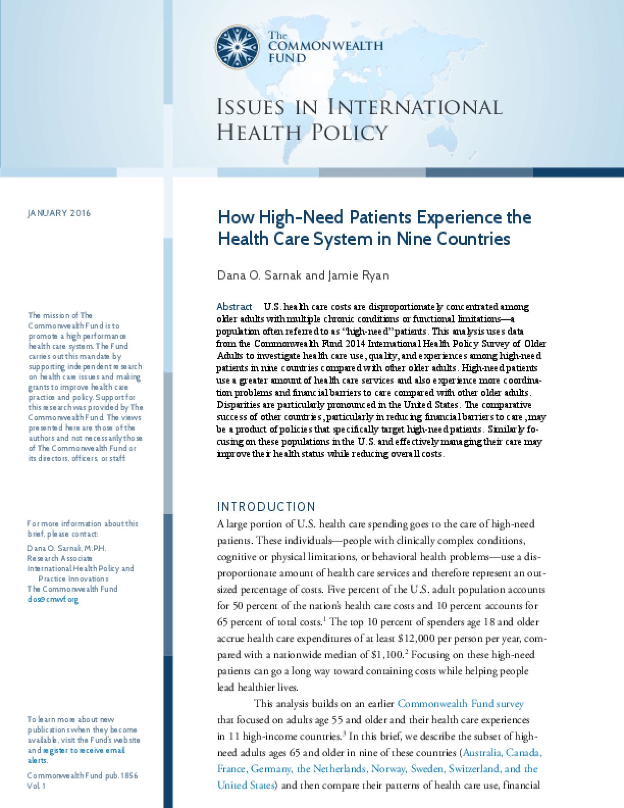 How High-Need Patients Experience the Health Care System in Nine Countries