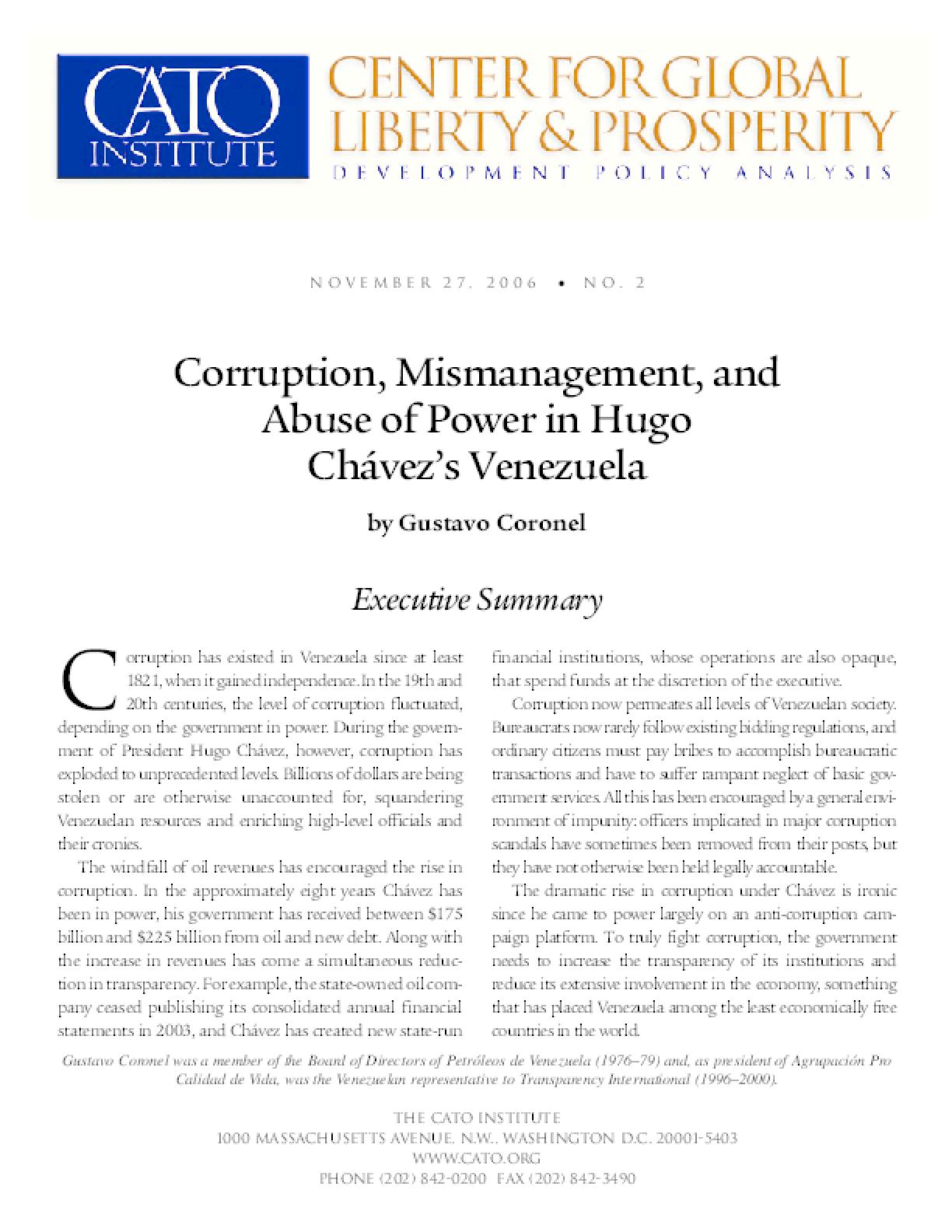 Corruption, Mismanagement, and Abuse of Power in Hugo Chavez's Venezuela