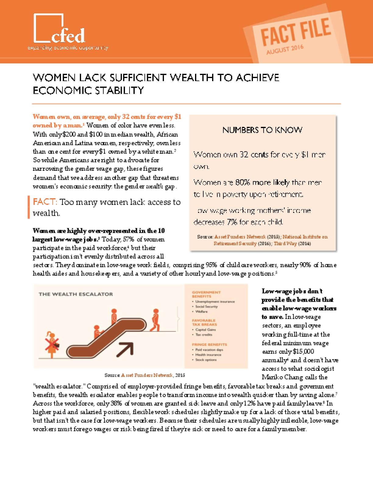Women Lack Sufficient Wealth to Achieve Economic Stability