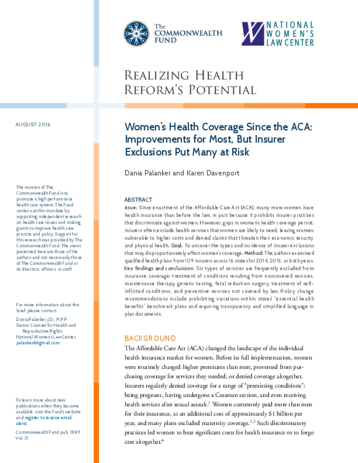 Women's Health Coverage Since the ACA: Improvements for Most, But Insurer Exclusions Put Many at Risk