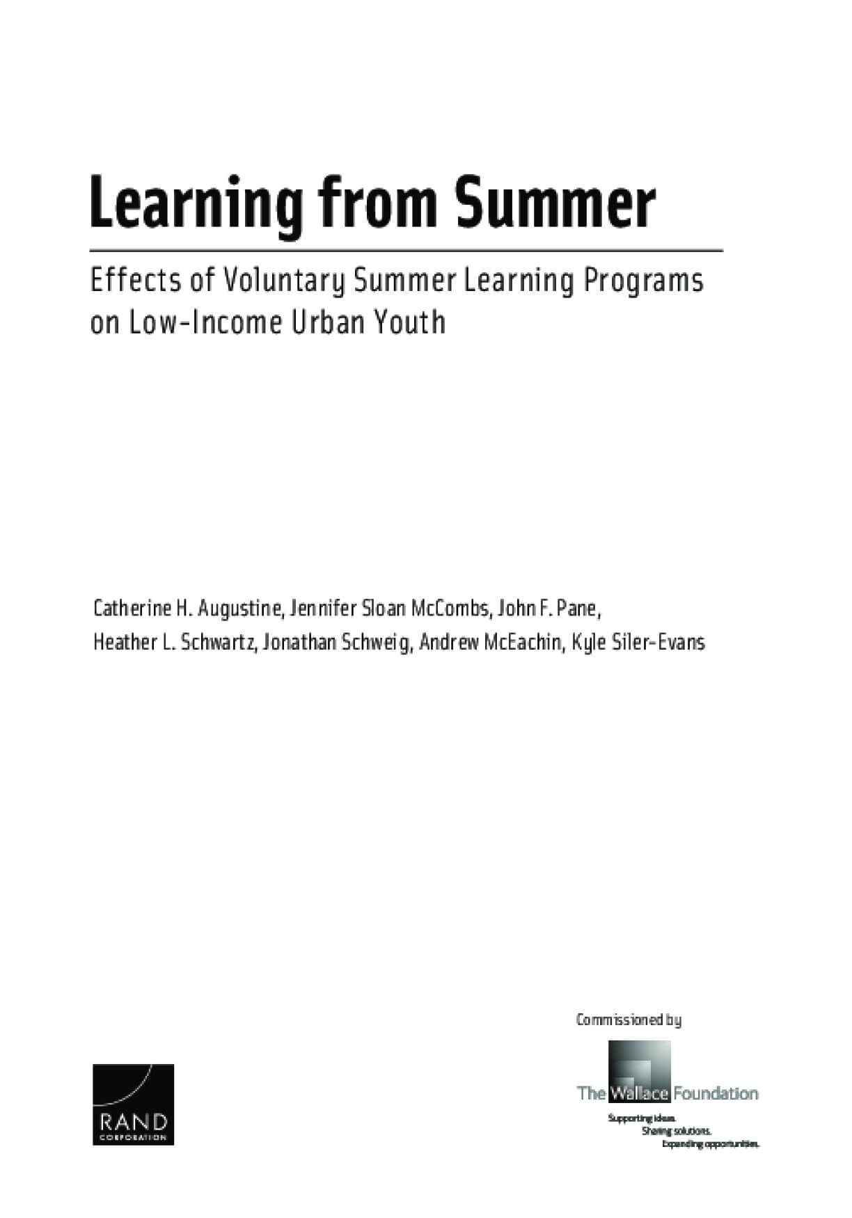 Learning From Summer: Effects of Voluntary Summer Learning Programs on Low-Income Urban Youth
