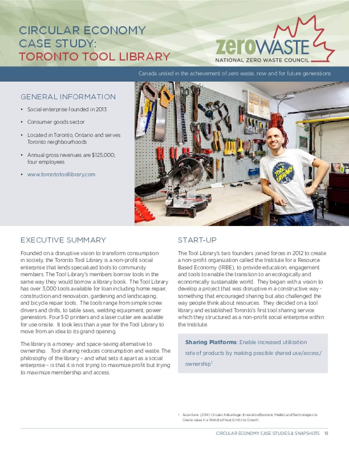 Circular Economy Case Study: Toronto Tool Library