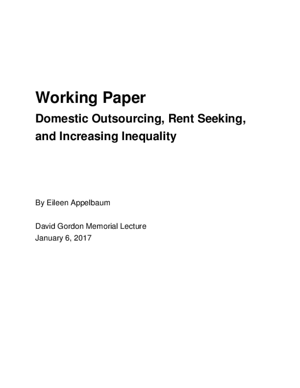 Domestic Outsourcing, Rent Seeking, and Increasing Inequality