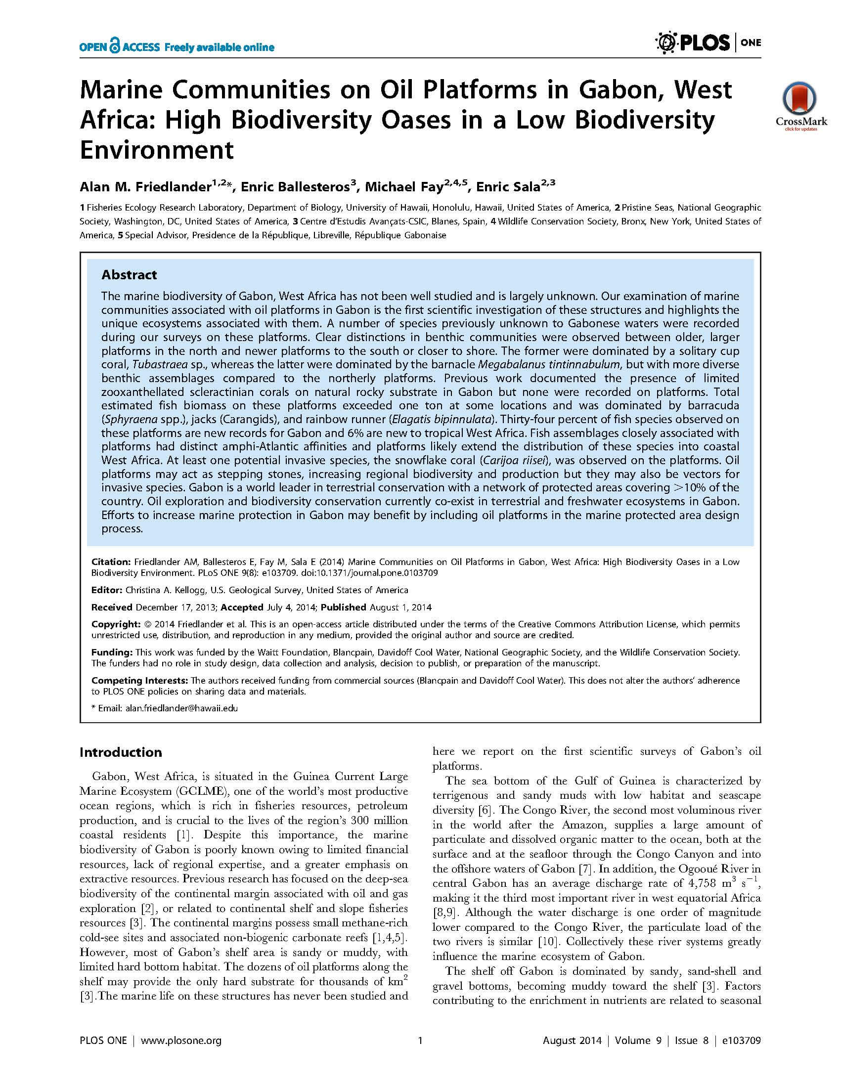 Marine Communities on Oil Platforms in Gabon, West Africa: High Biodiversity Oases in a Low Biodiversity Environment