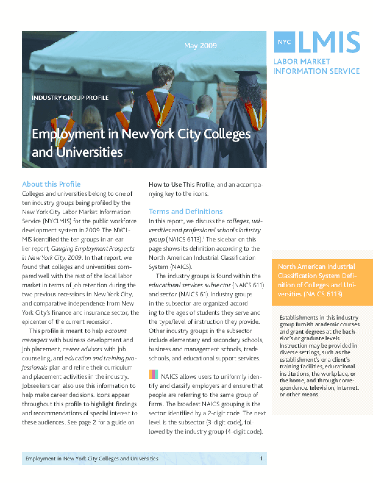 Employment in New York City Colleges and Universities: Industry Profile