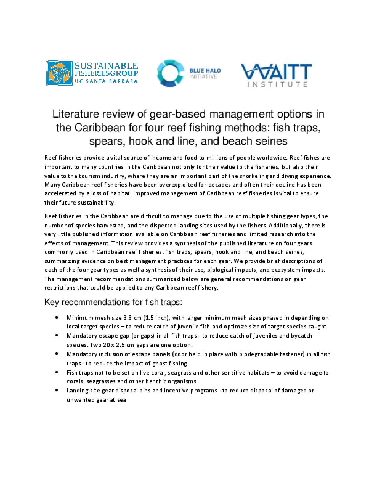 Literature Review of Gear-based Management Options in the Caribbean for Four Reef Fishing Methods: Fish Traps, Spears, Hook and Line, and Beach Seines