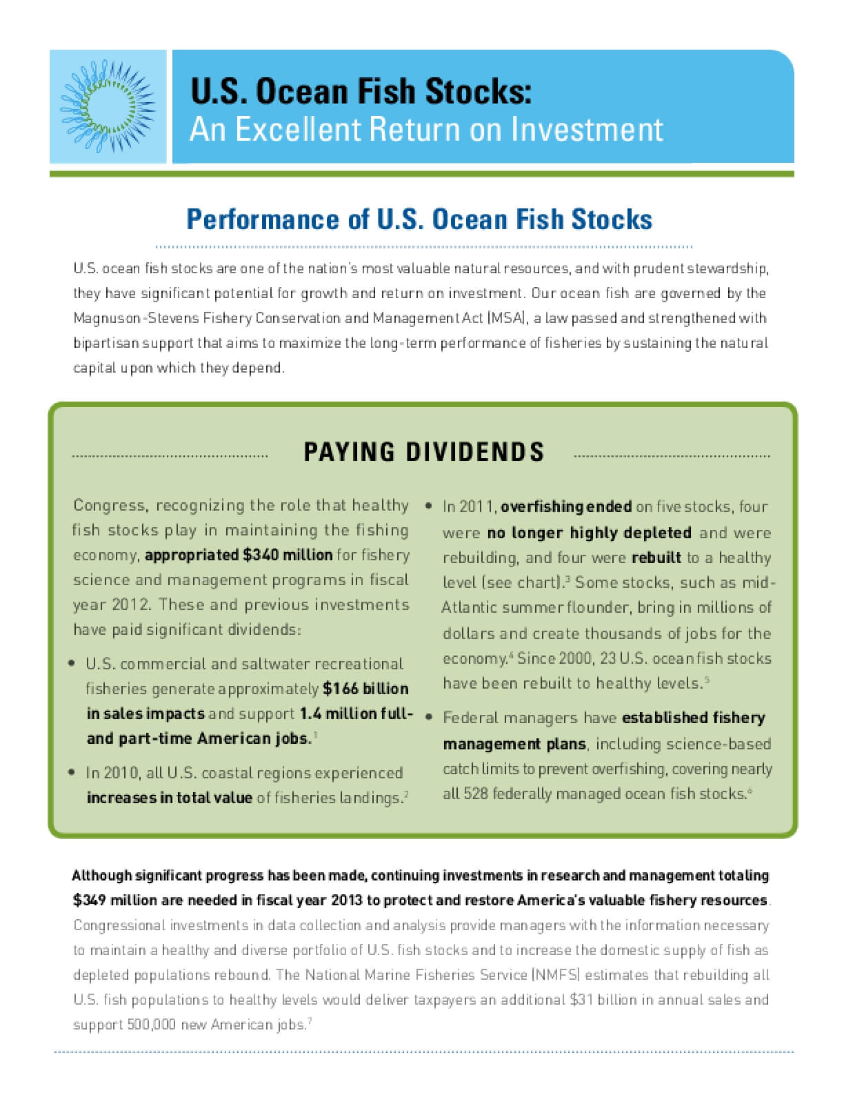 U.S. Ocean Fish Stocks: An Excellent Return on Investment