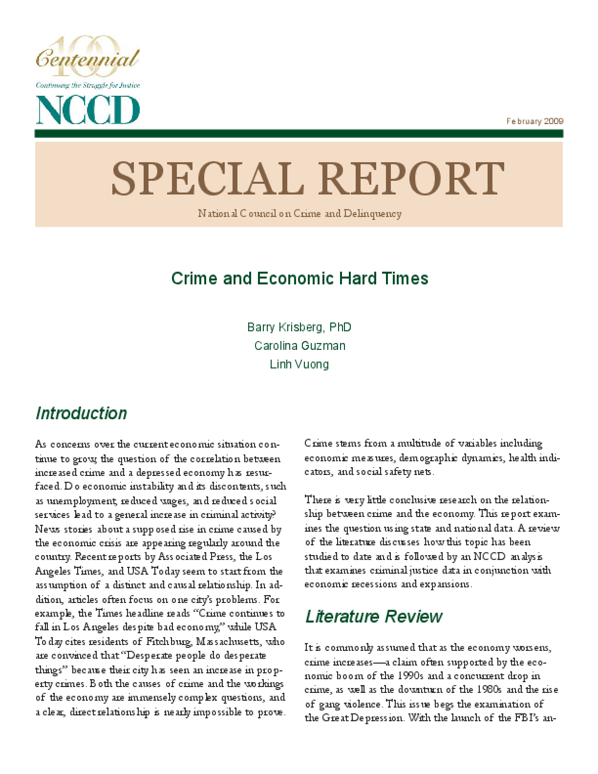 Special Report: Crime and Economic Hard Times