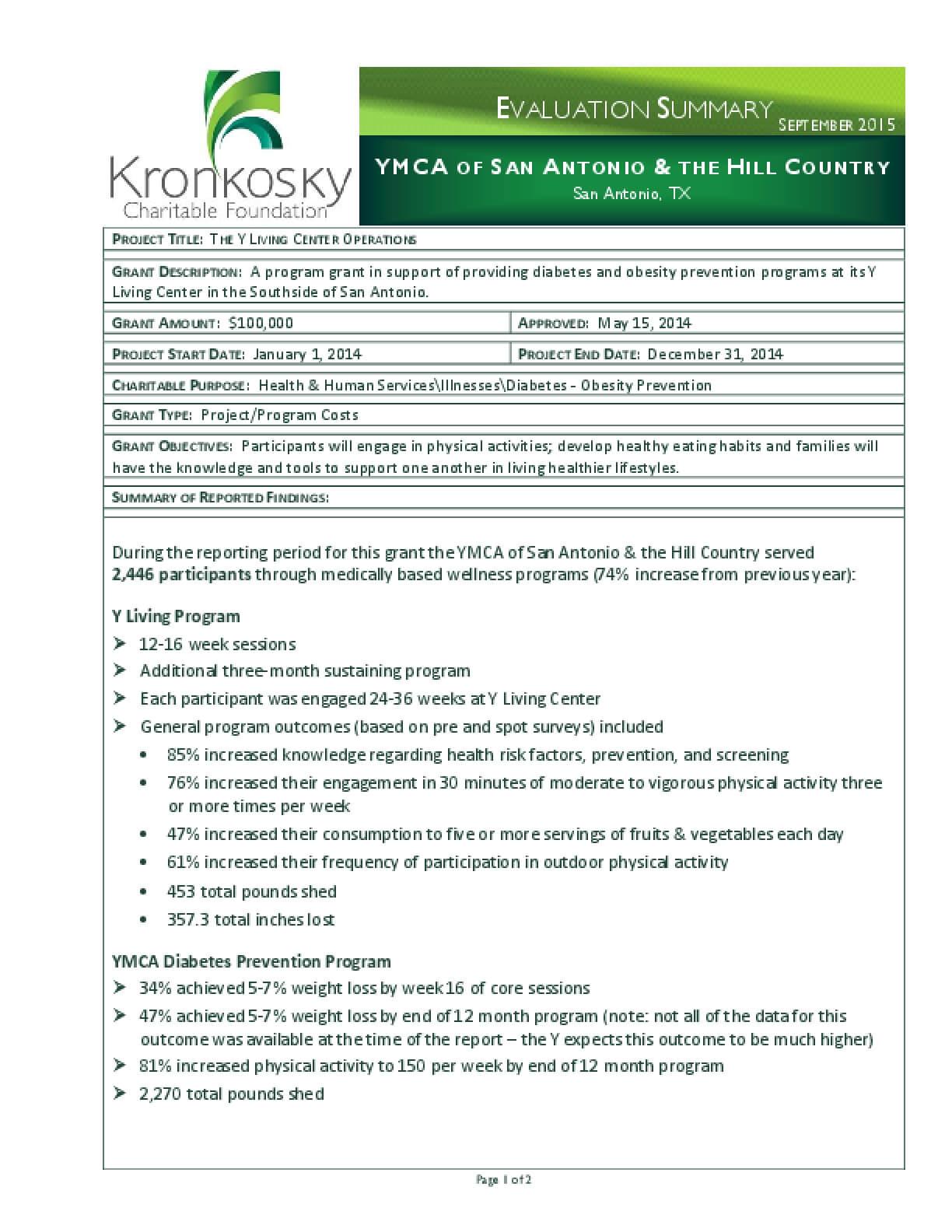 YMCA of San Antonio & the Hill Country Evaluation Summary