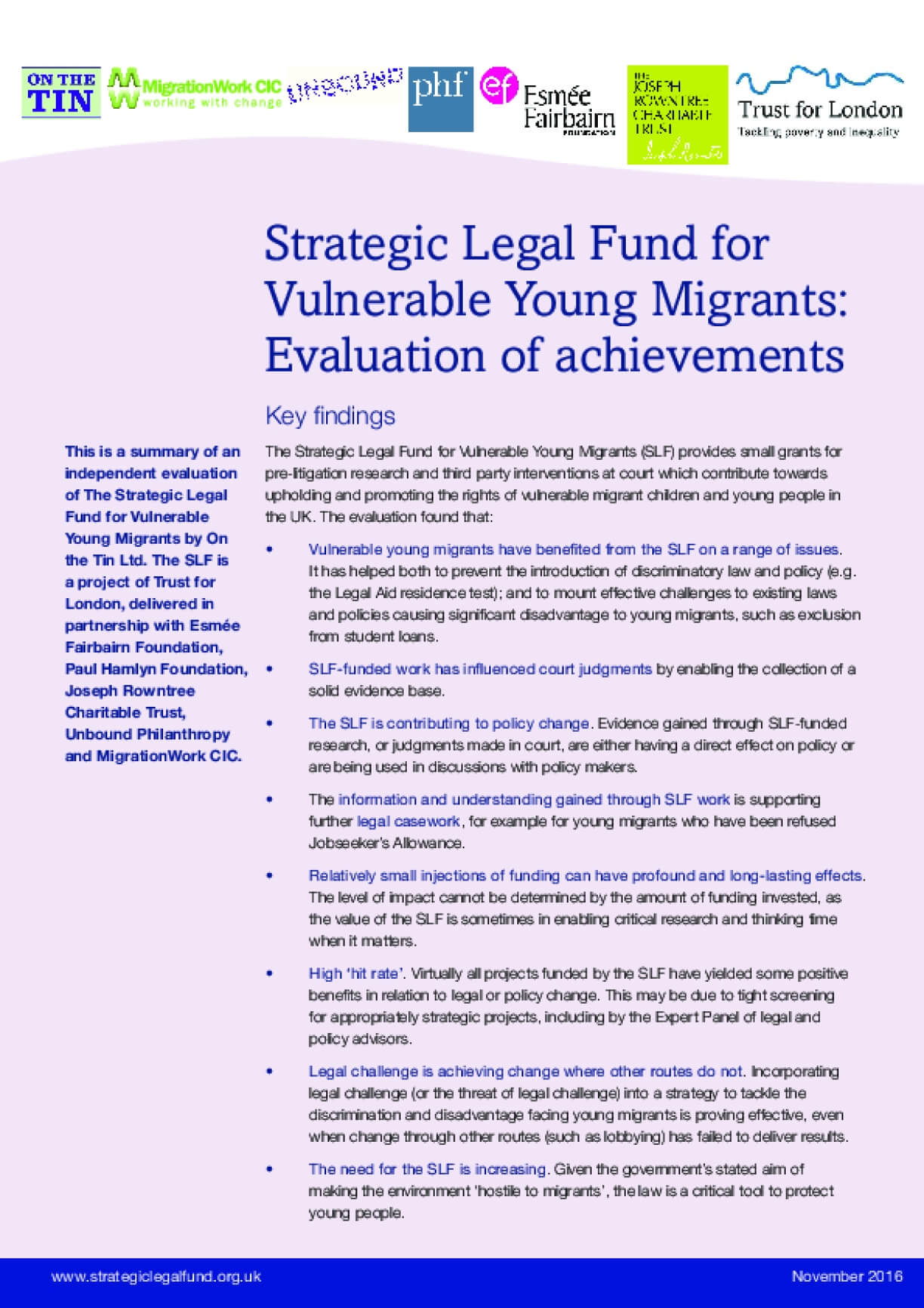 Strategic Legal Fund for Vulnerable Young Migrants: Evaluation of Achievements