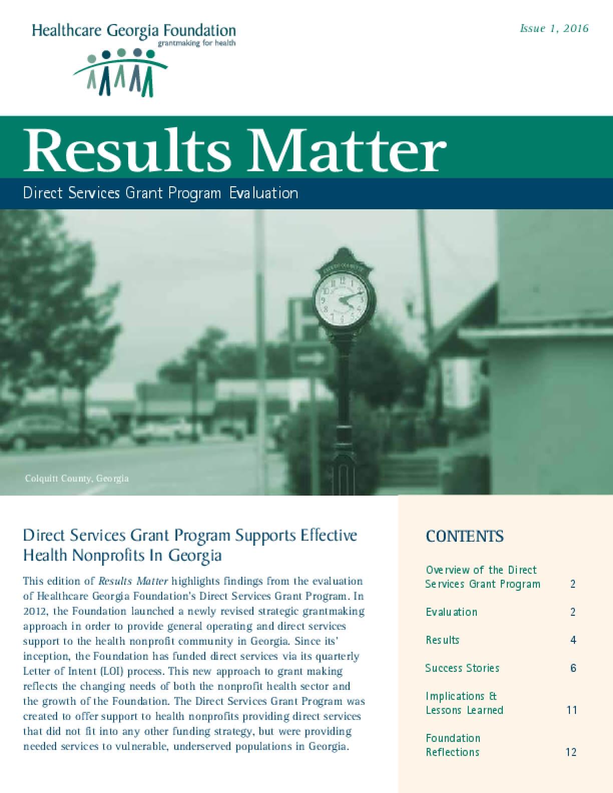 Results Matter: Direct Services Grants Program Evaluation