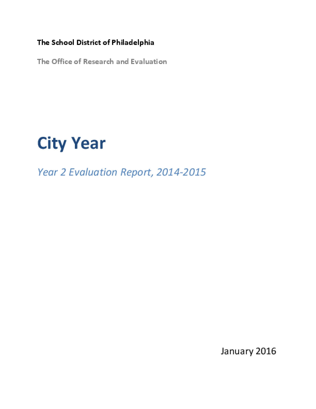 City Year - Year 2 Evaluation Report, 2014-2015