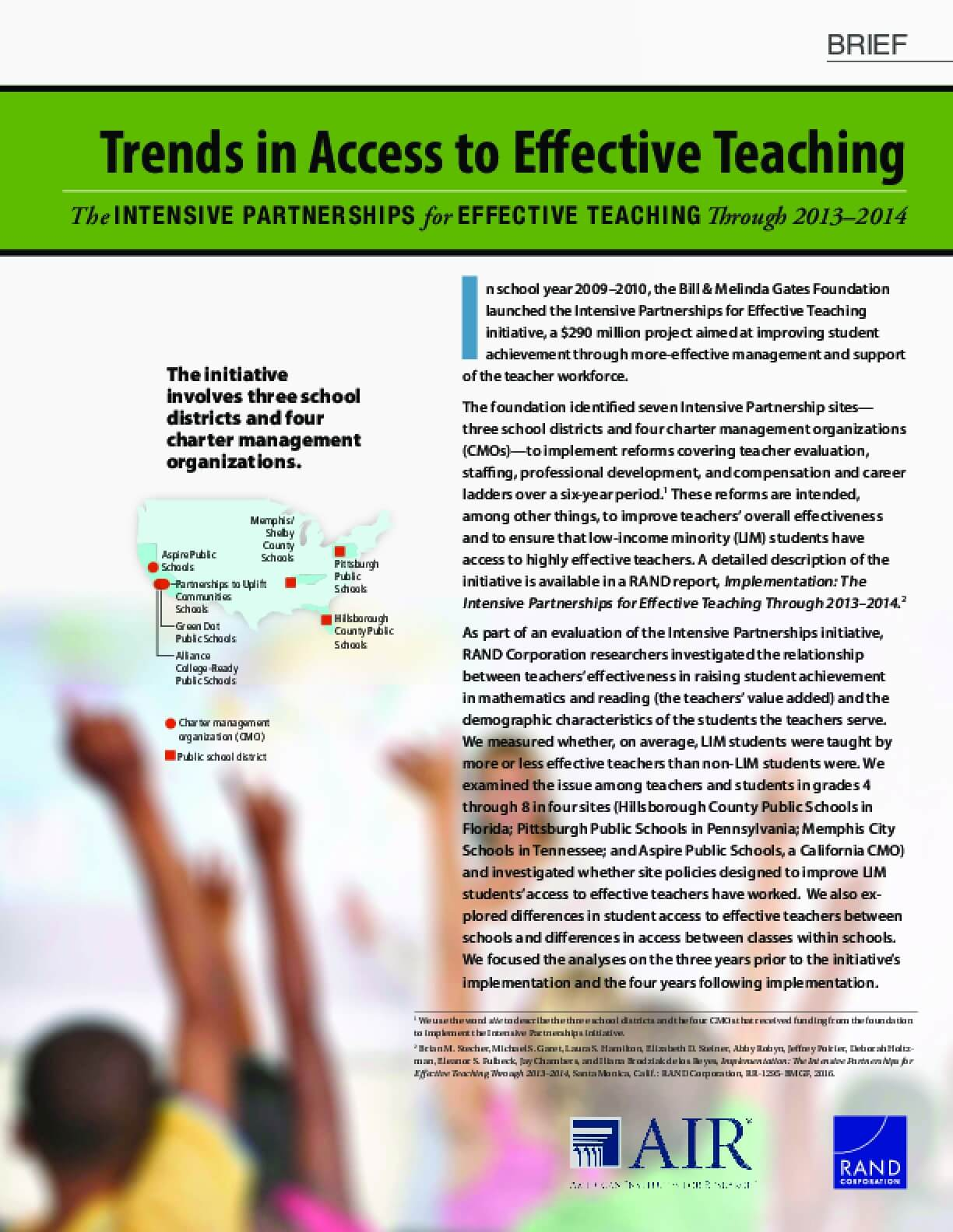 Trends in Access to Effective Teaching: The Intensive Partnerships for Effective Teaching Through 2013–2014