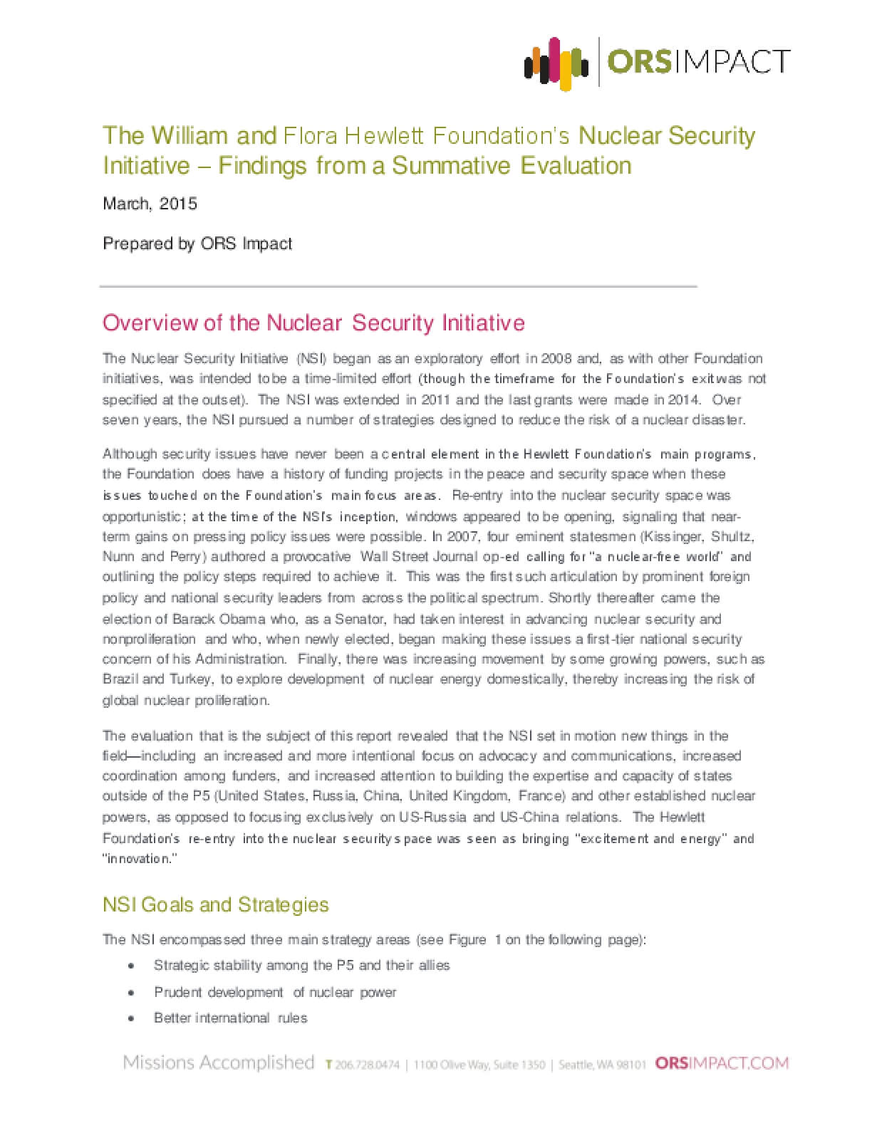 The William and Flora Hewlett Foundation's Nuclear Security Initiative—Findings from a Summative Evaluation