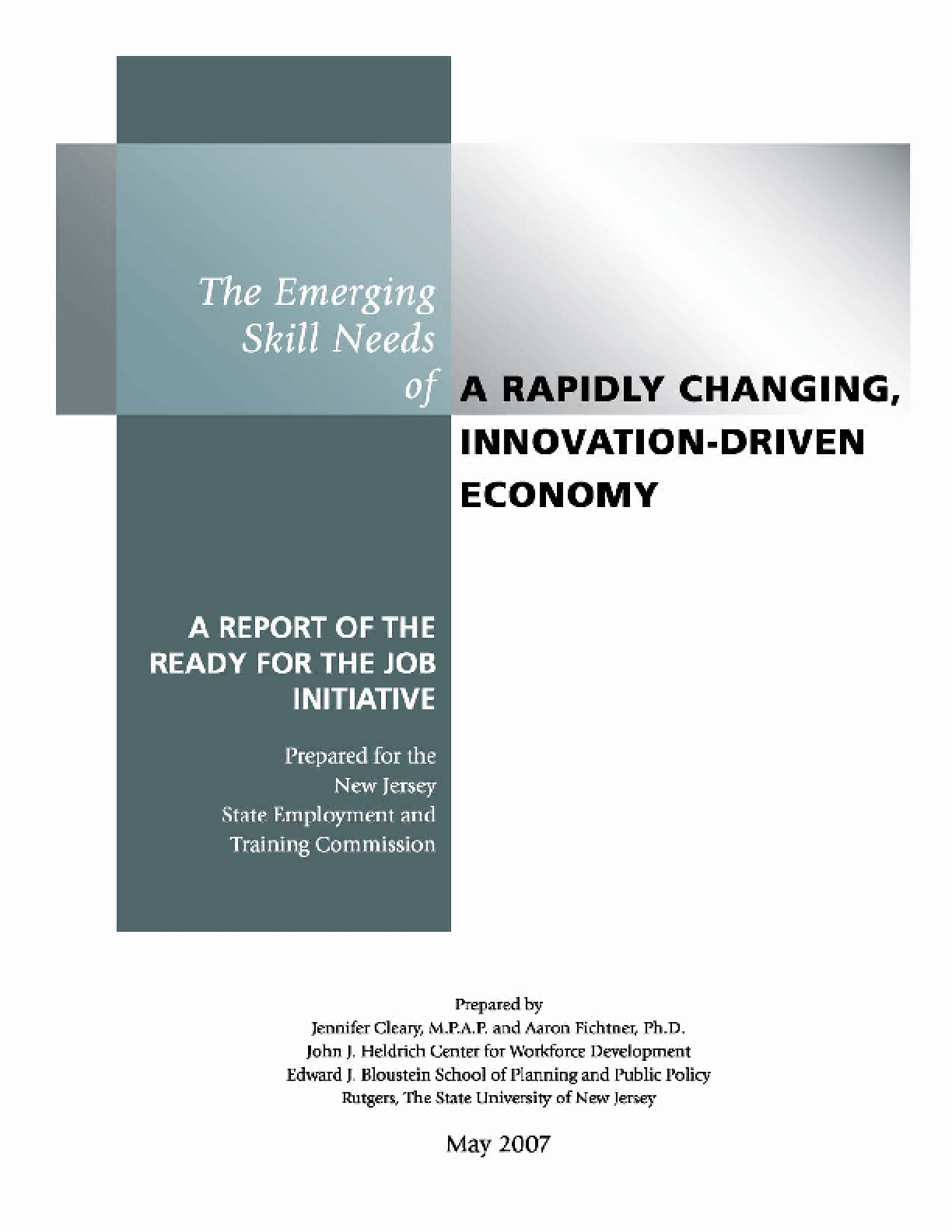 The Emerging Skill Needs of a Rapidly Changing, Innovation-Driven Economy