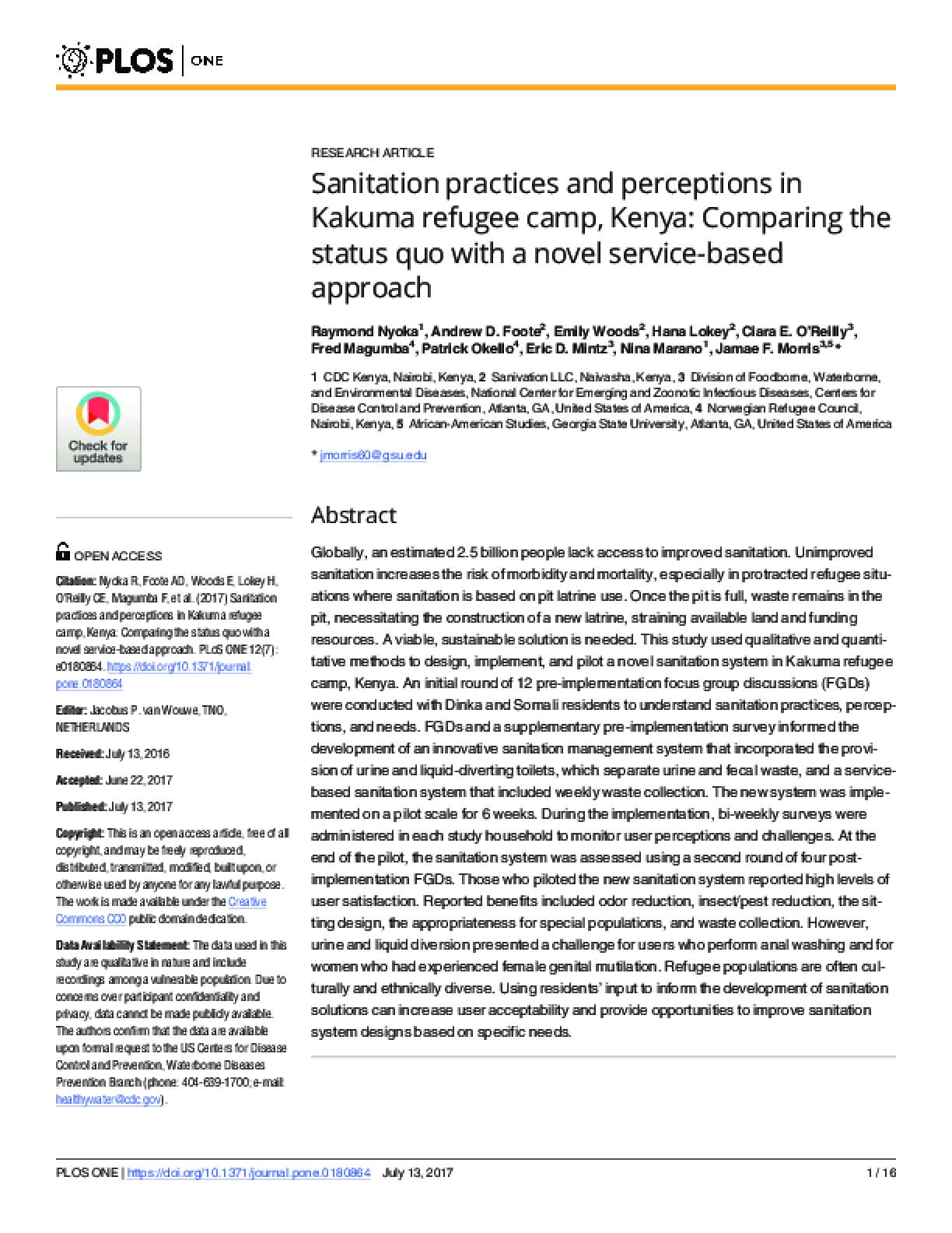 Sanitation Practices and Perceptions in Kakuma Refugee Camp, Kenya: Comparing the Status Quo With a Novel Service-Based Approach