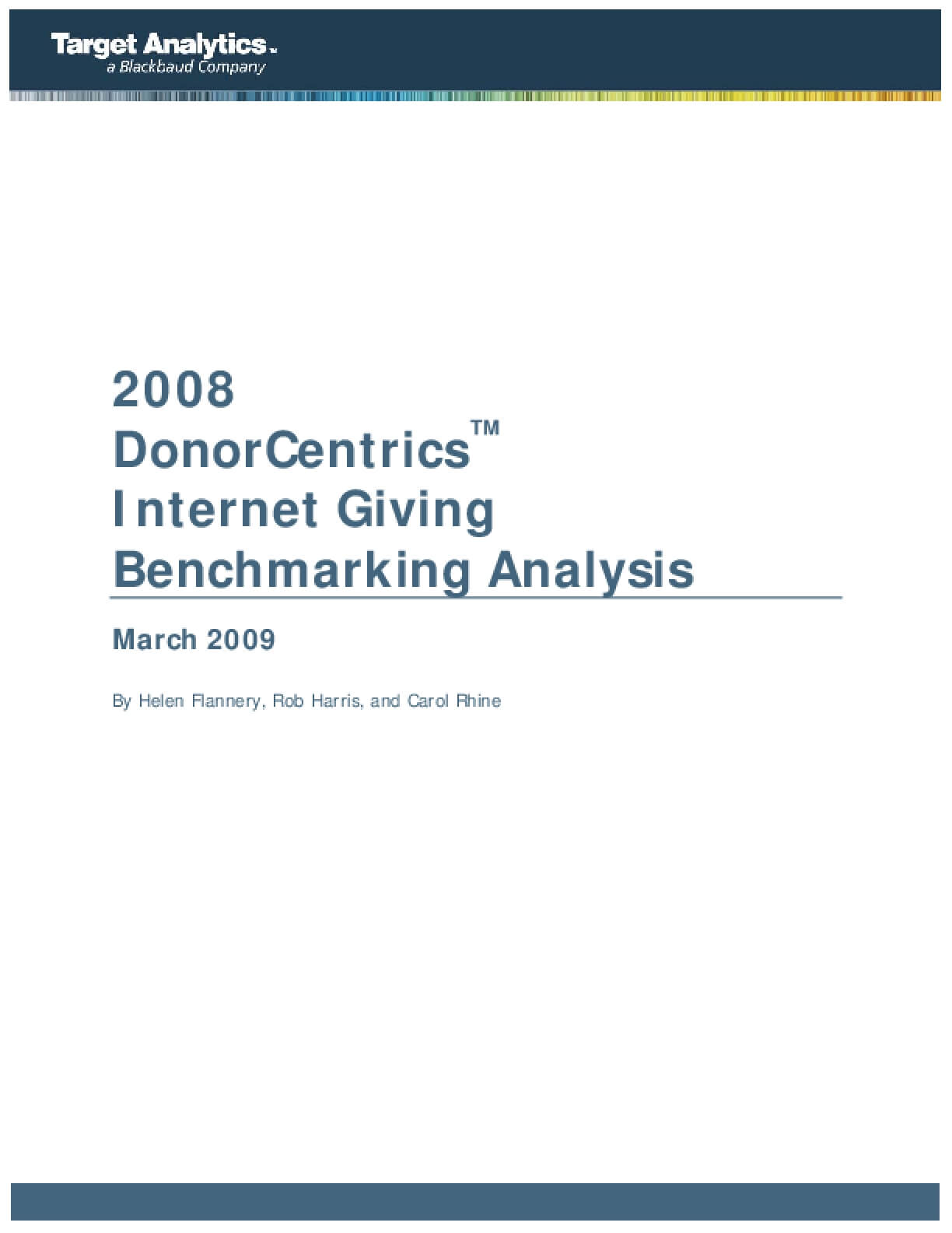 2008 DonorCentrics Internet Giving Benchmarking Analysis