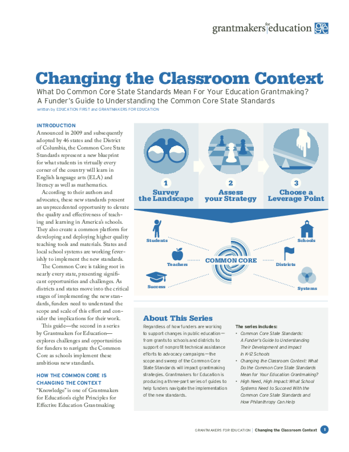 Changing the Classroom Context: What Do Common Core State Standards Mean for Your Education Grantmaking? a Funder's Guide to Understanding the Common Core State Standards