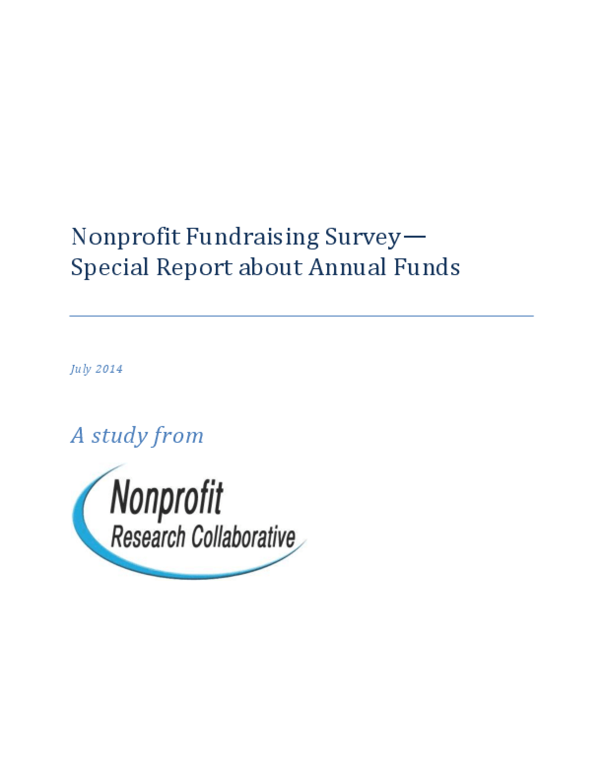 Nonprofit Fundraising Survey: Special Report About Annual Funds