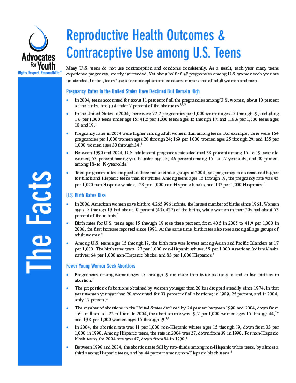 Reproductive Health Outcomes & Contraceptive Use among U.S. Teens