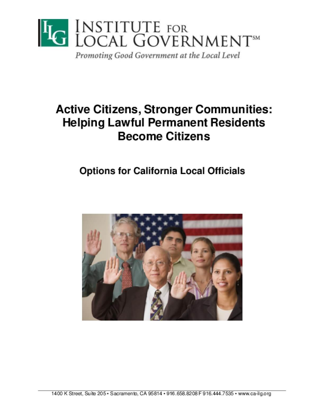 Active Citizens, Stronger Communities: Helping Lawful Permanent Residents Become Citizens