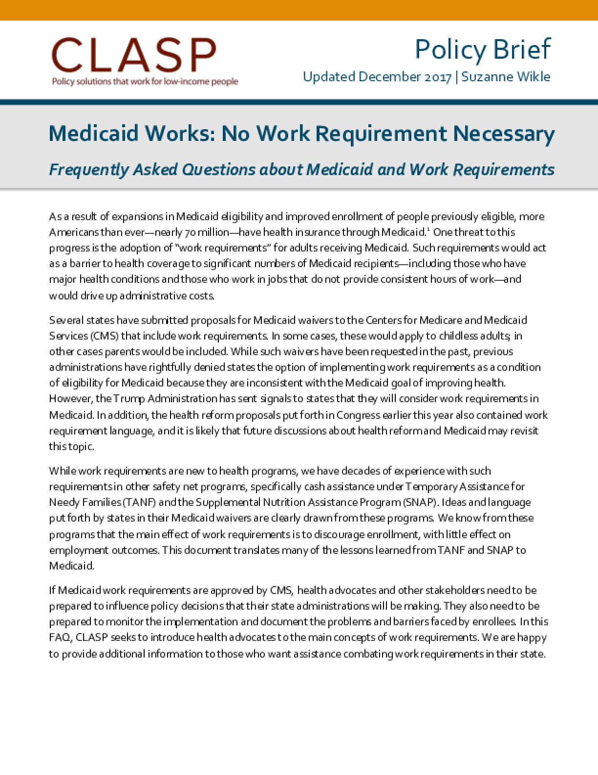 Medicaid Works: No Work Requirement Necessary