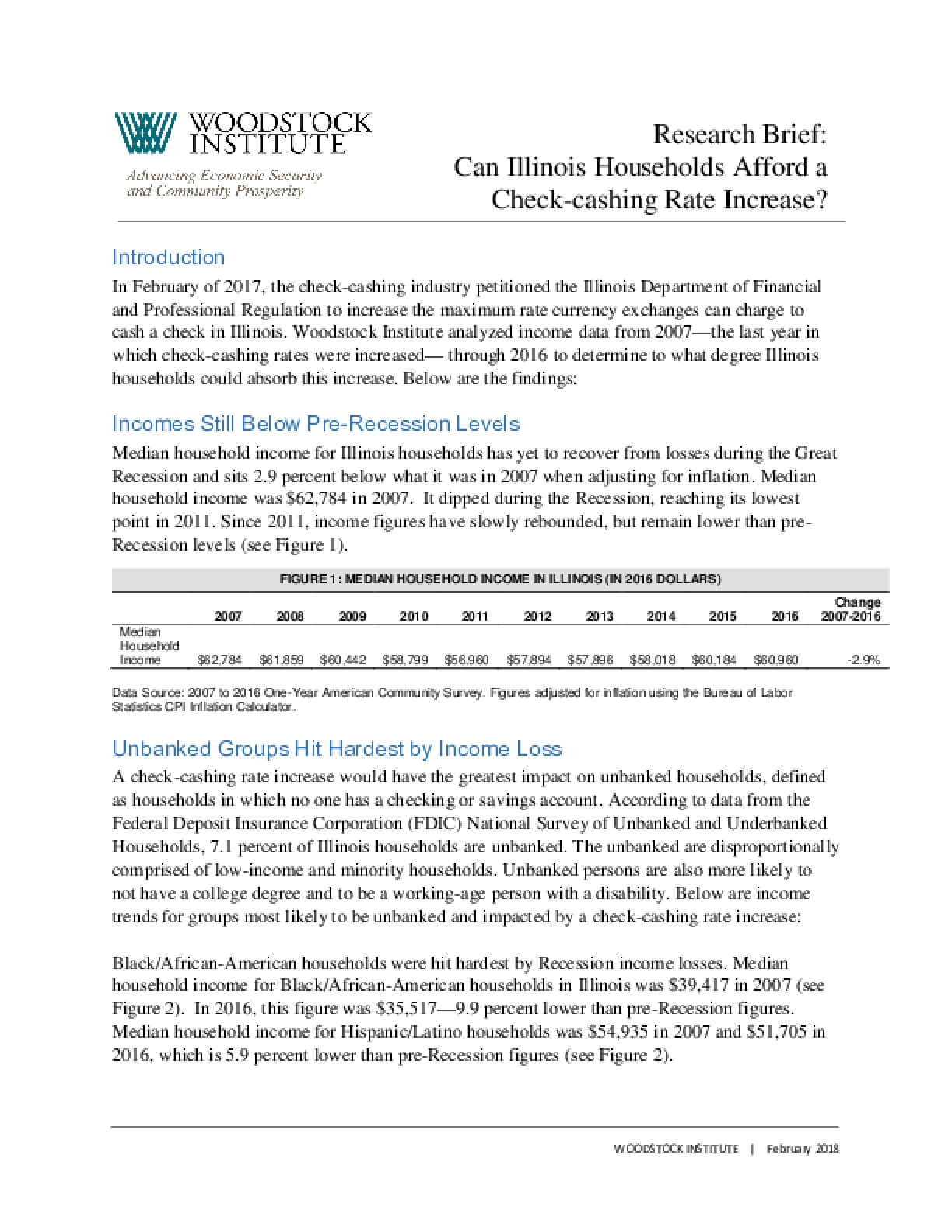Research Brief:  Can Illinois Households Afford a Check-cashing Rate Increase?