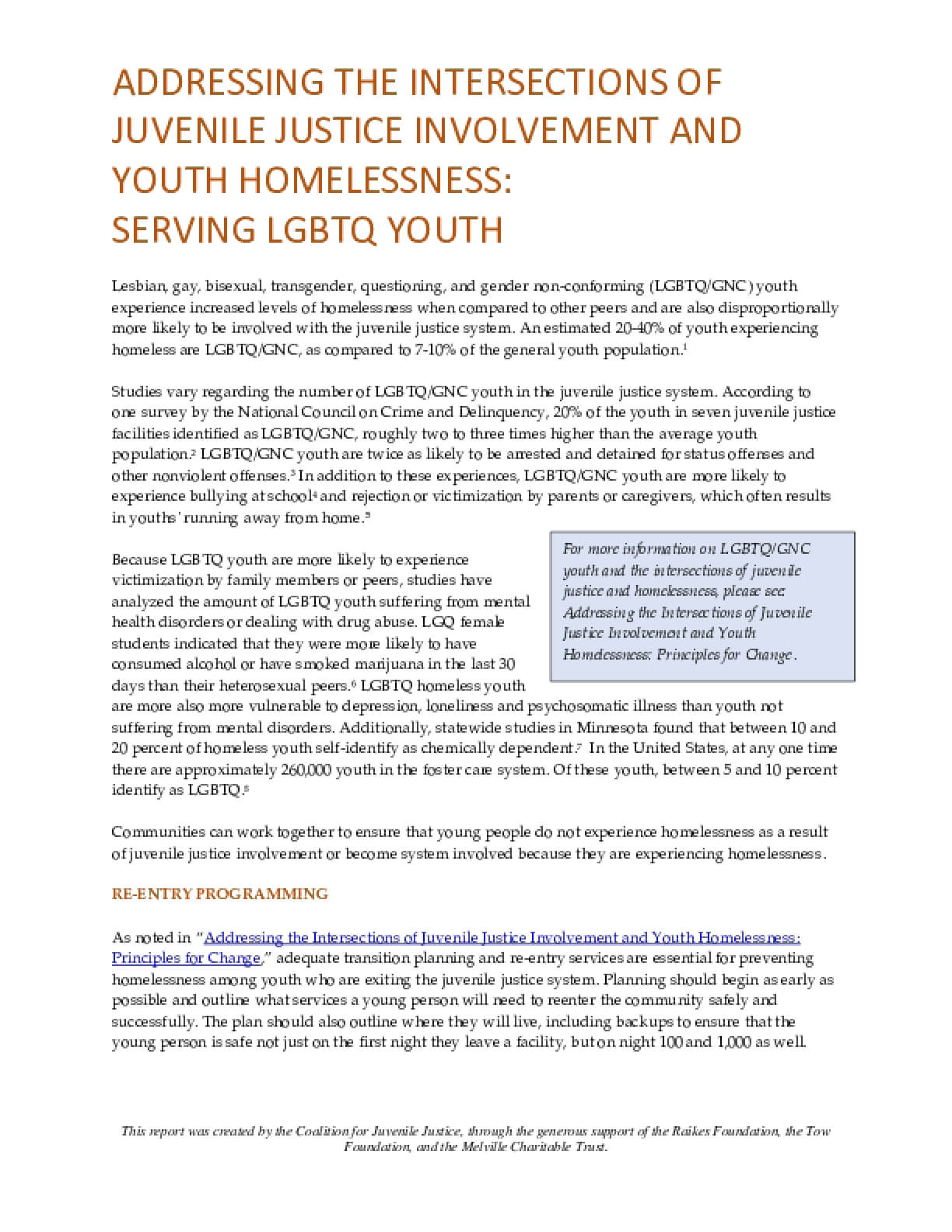Addressing the Intersection of Juvenile Justice Involvement and Youth Homelessness: Serving LGBTQ Youth