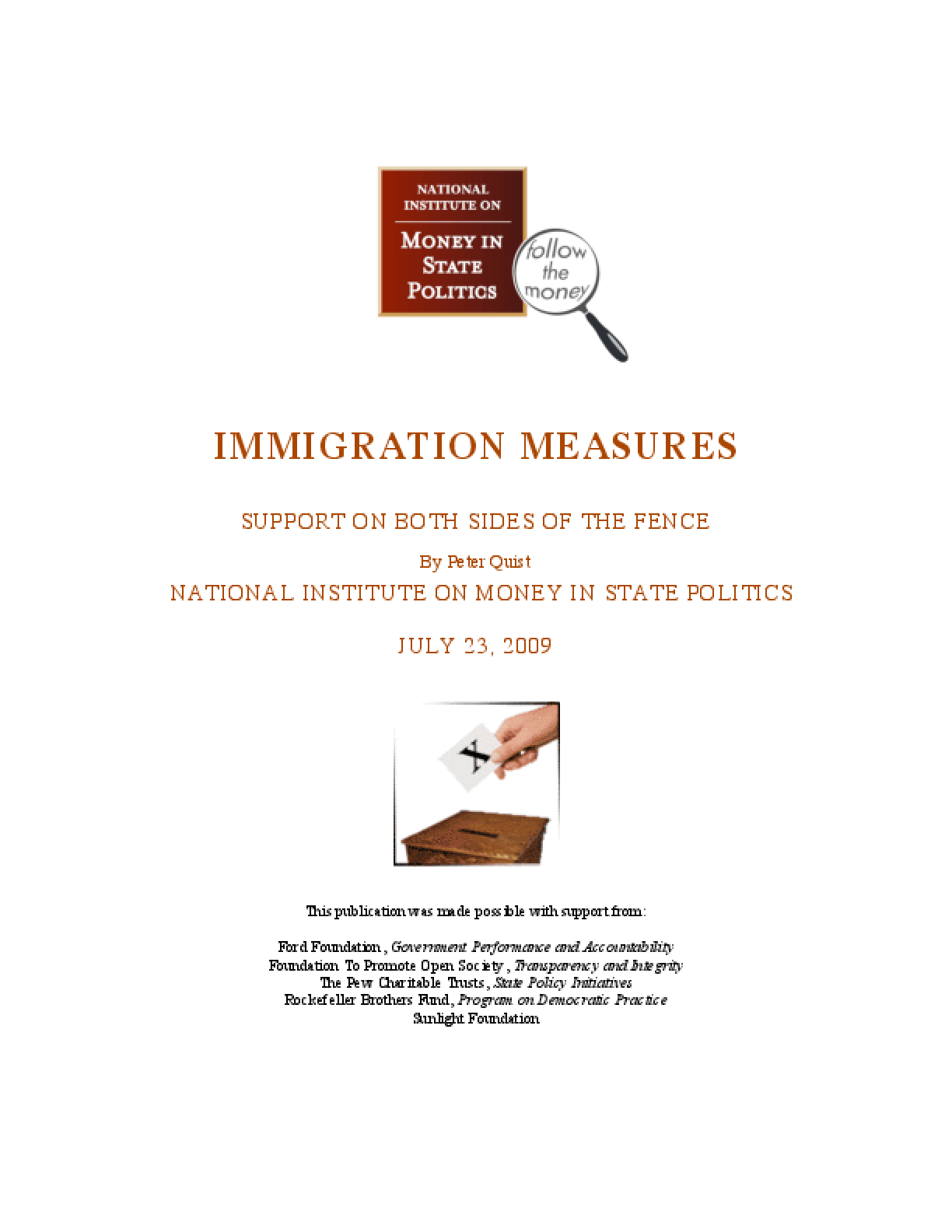 Immigration Measures: Support On Both Sides Of The Fence