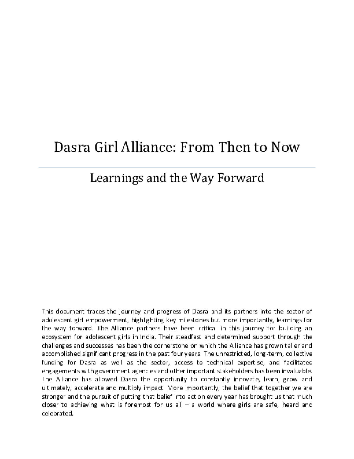 Dasra Girl Alliance: From Then to Now - Learnings and the Way Forward