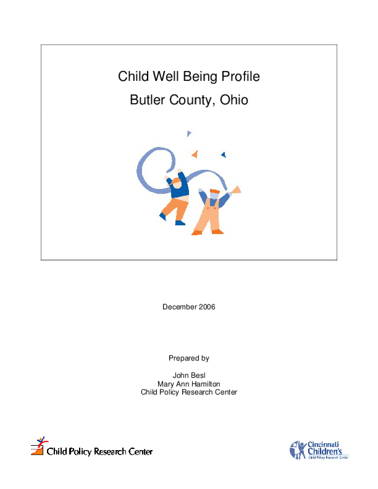 Child Well Being Profile Butler County, Ohio