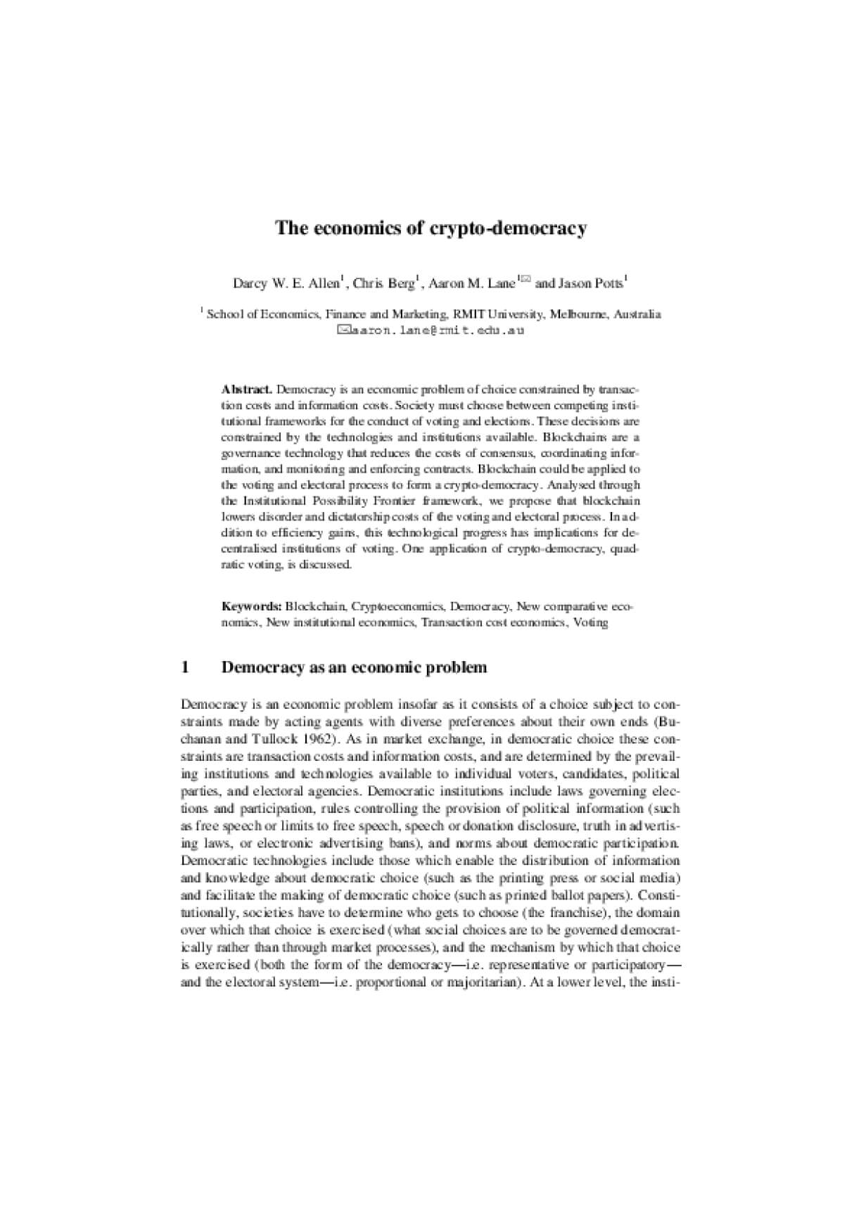 The Economics of Crypto-Democracy