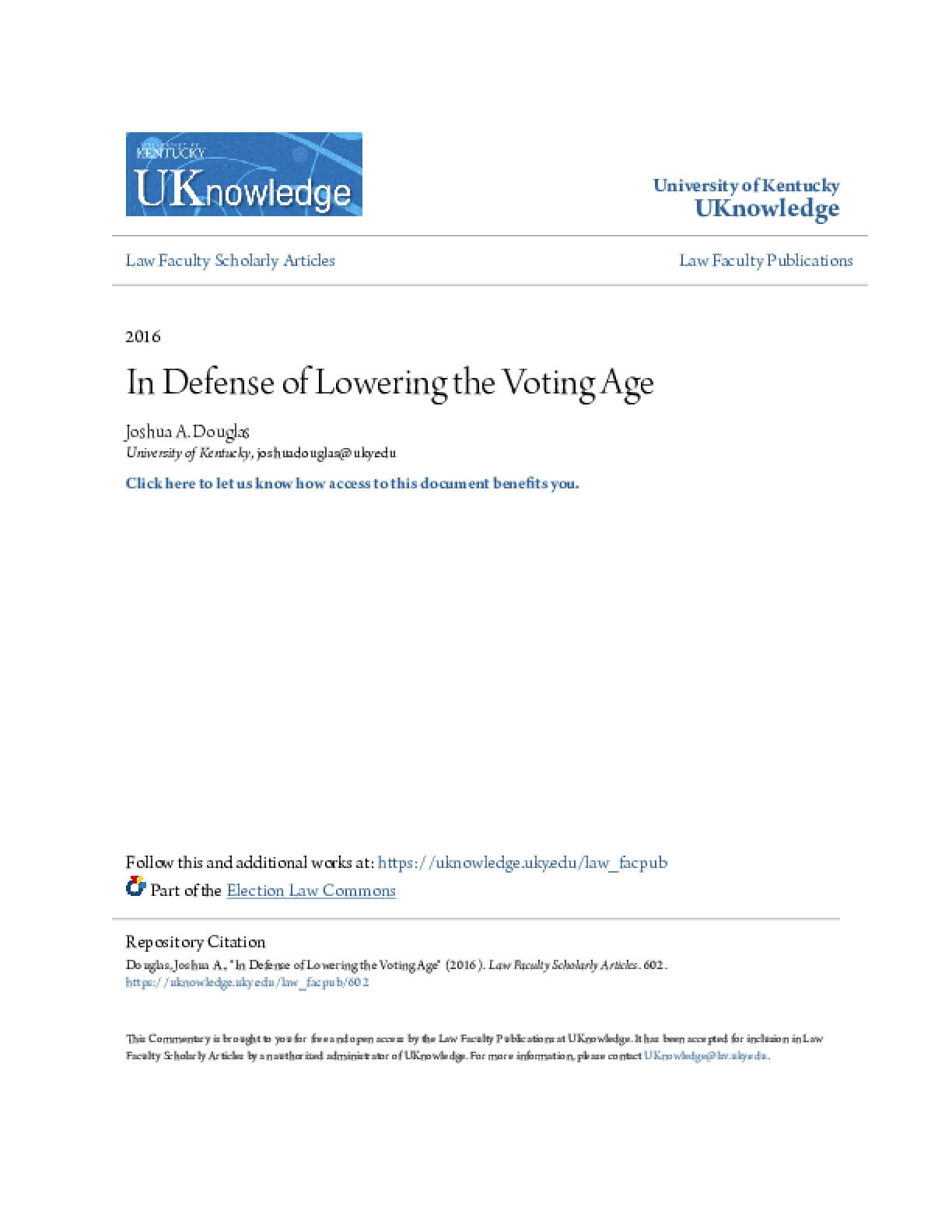 In Defense of Lowering the Voting Age
