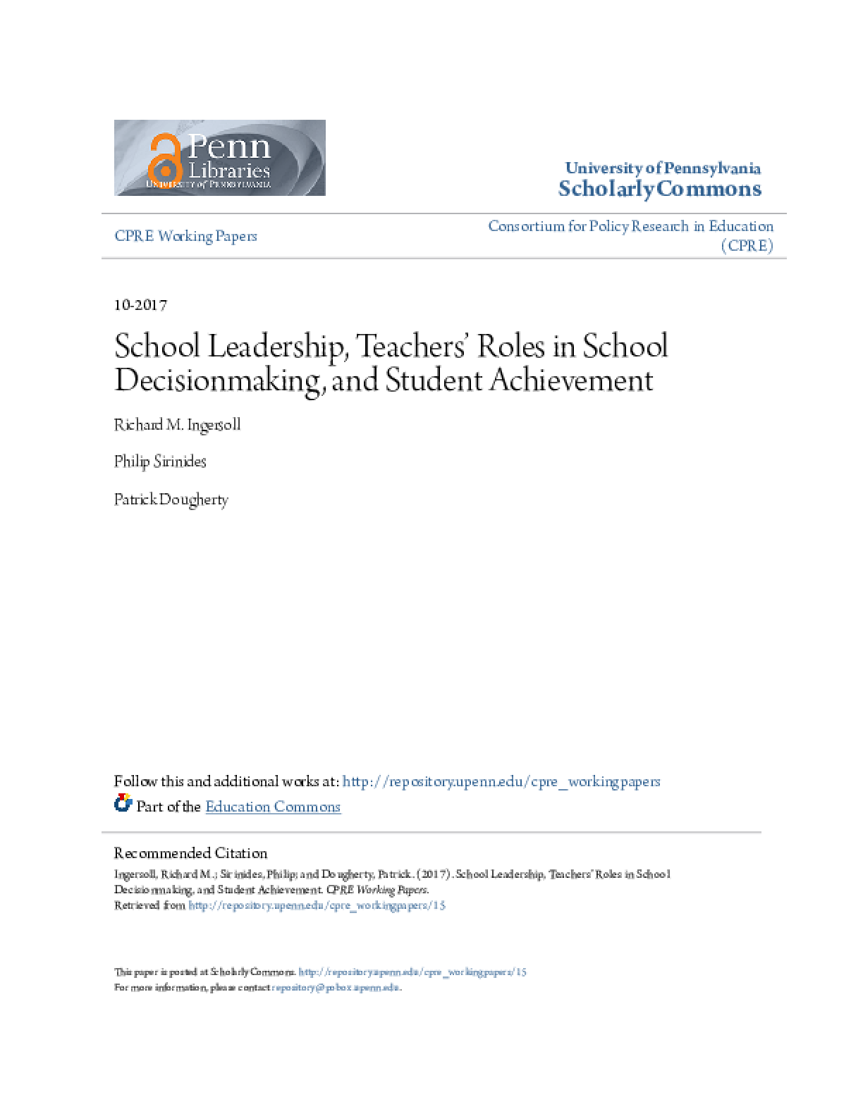 School Leadership, Teachers' Roles in School Decisionmaking, and Student Achievement