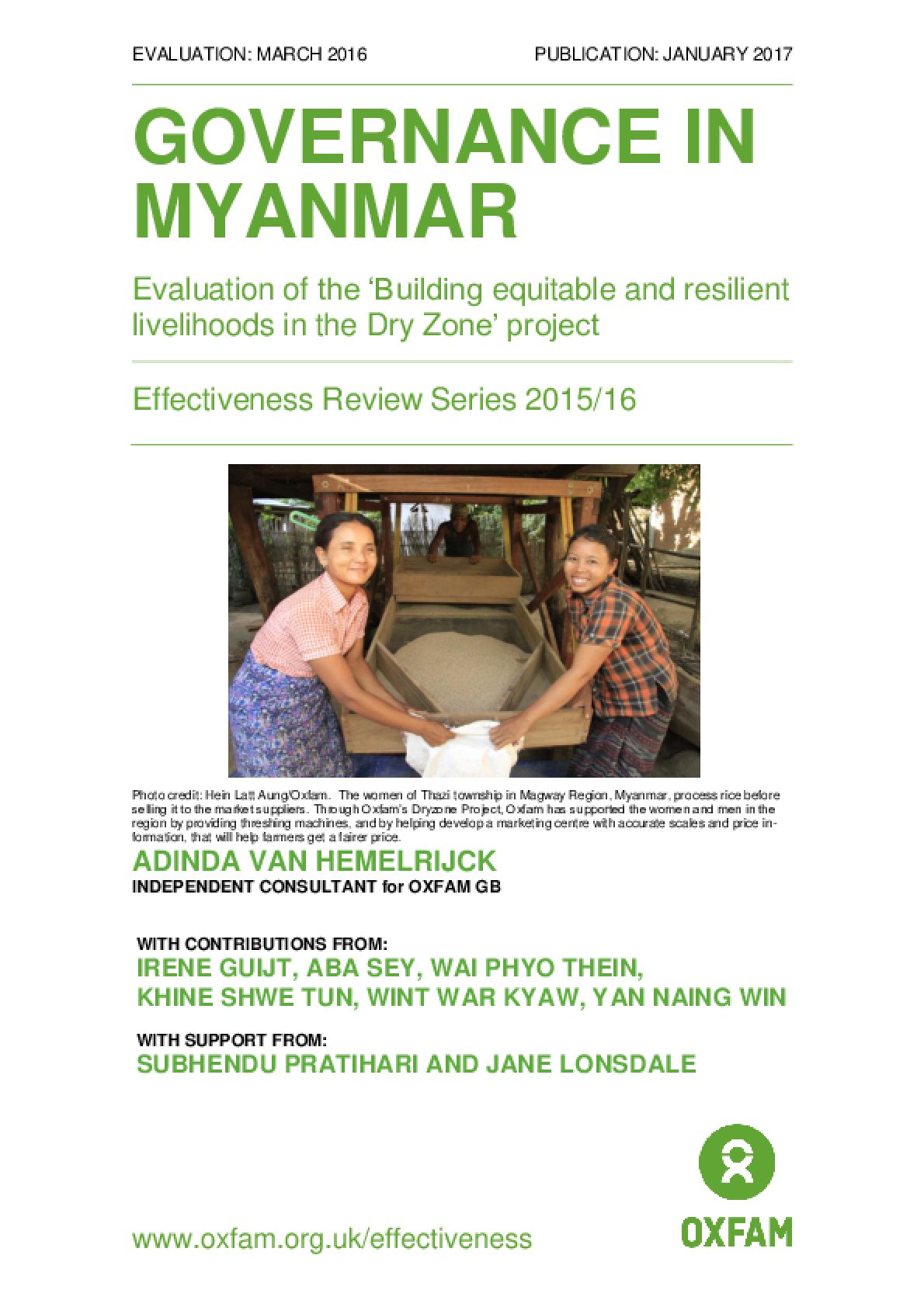 Governance in Myanmar: Evaluation of the 'Building equitable and resilient livelihoods in the Dry Zone' project