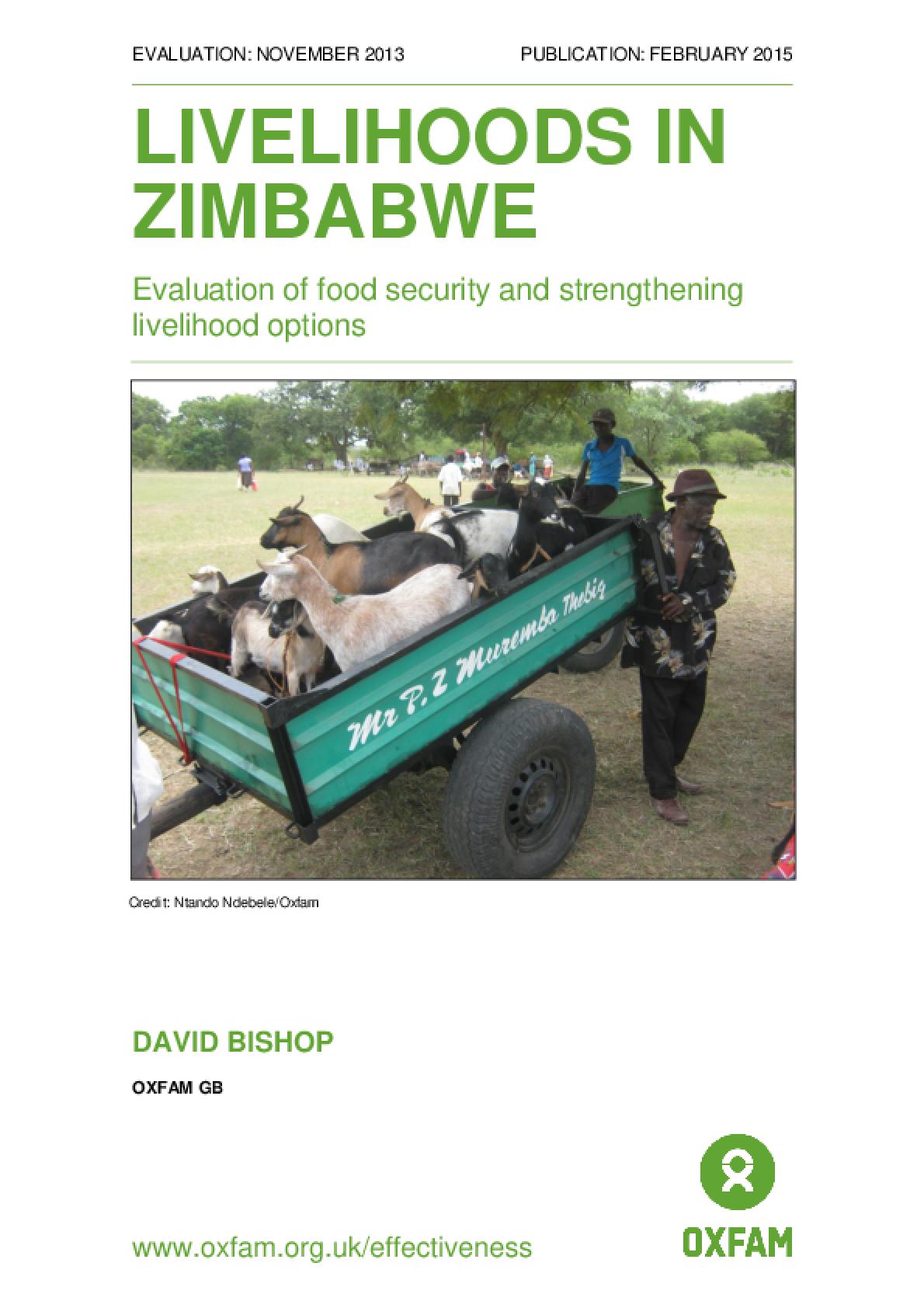 Livelihoods in Zimbabwe: Evaluation of food security and strengthening livelihood options