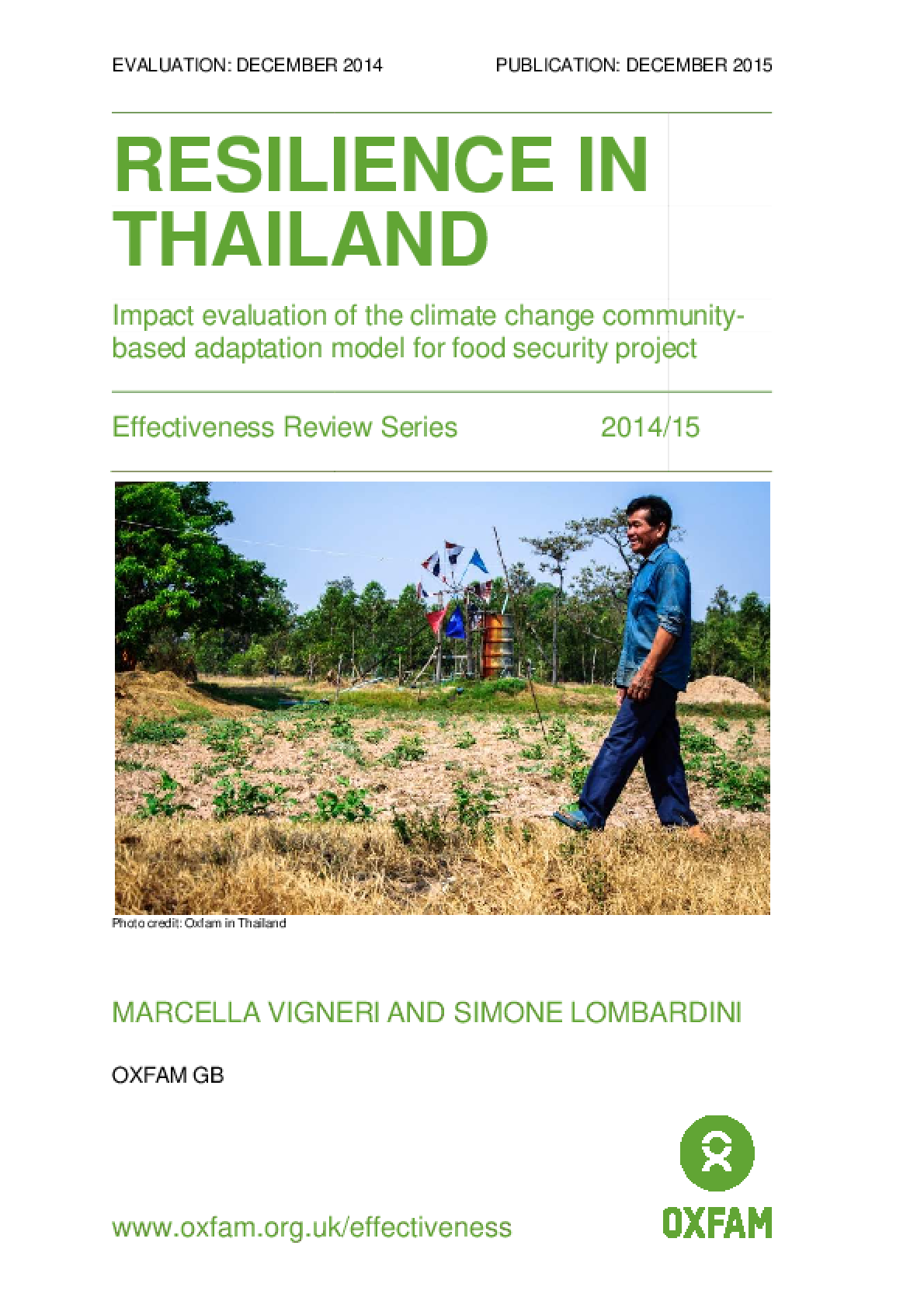 Resilience in Thailand: Impact evaluation of the climate change community-based adaptation model for food security project