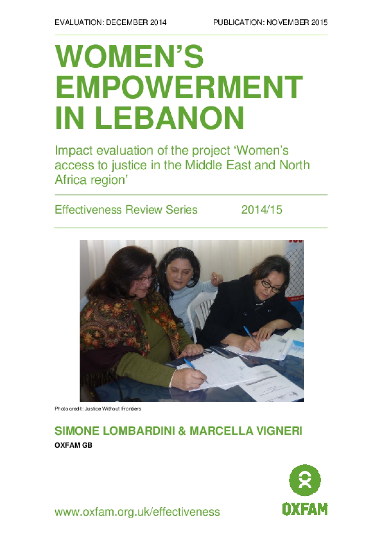 Women's Empowerment in Lebanon:  Impact evaluation of the project 'Women's access to justice in the Middle East and North Africa region'