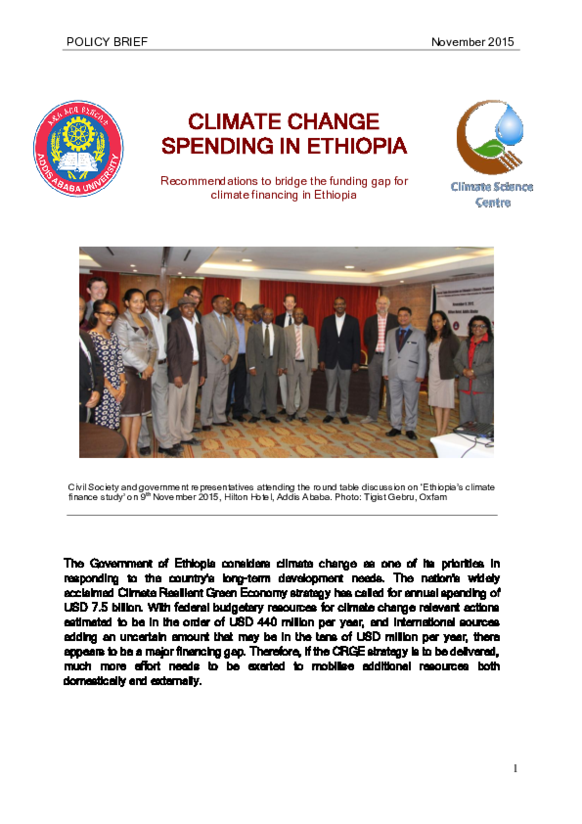 Climate Change Spending in Ethiopia: Recommendations to bridge the funding gap for climate financing