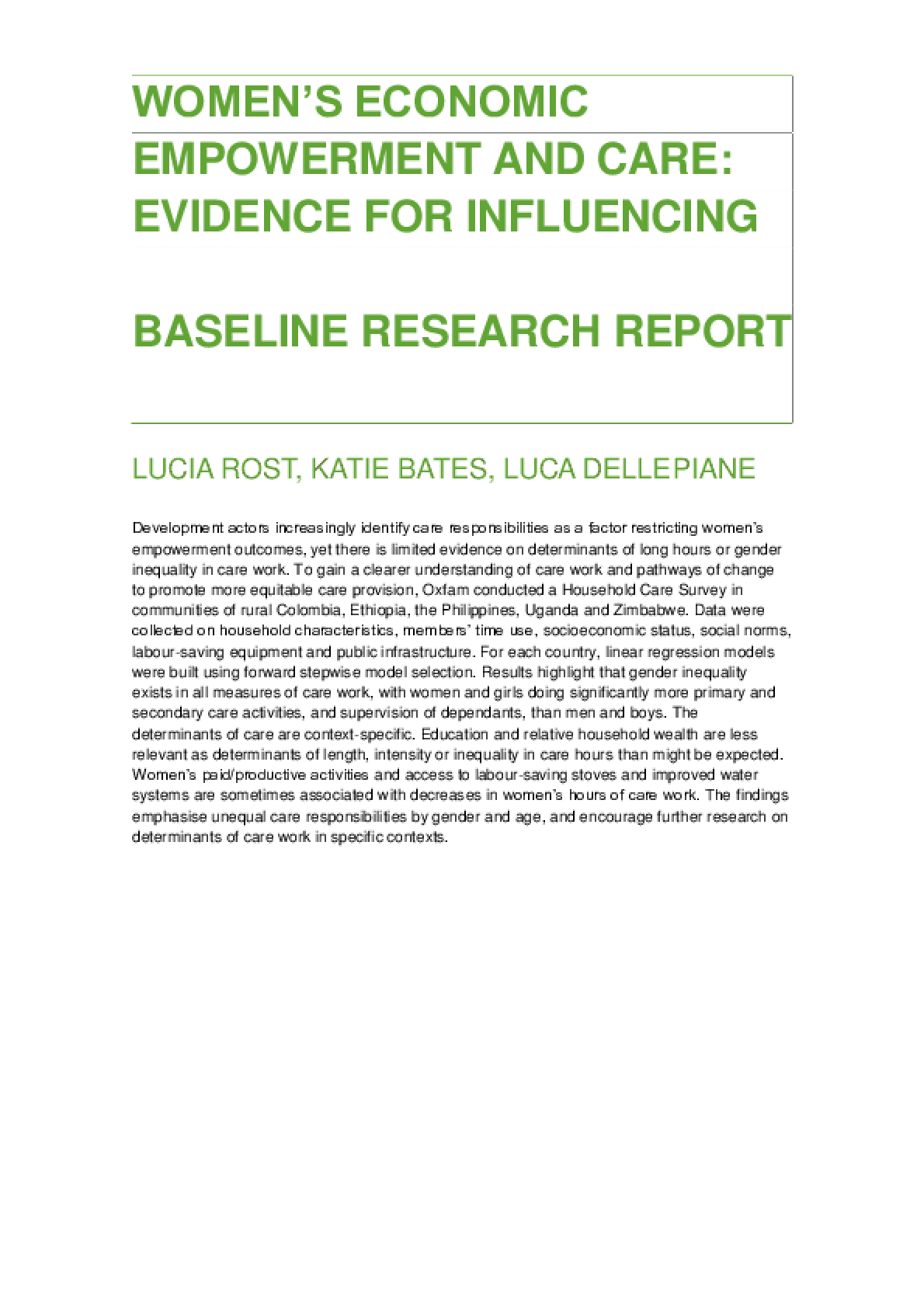 Women's Economic Empowerment and Care: Evidence for influencing