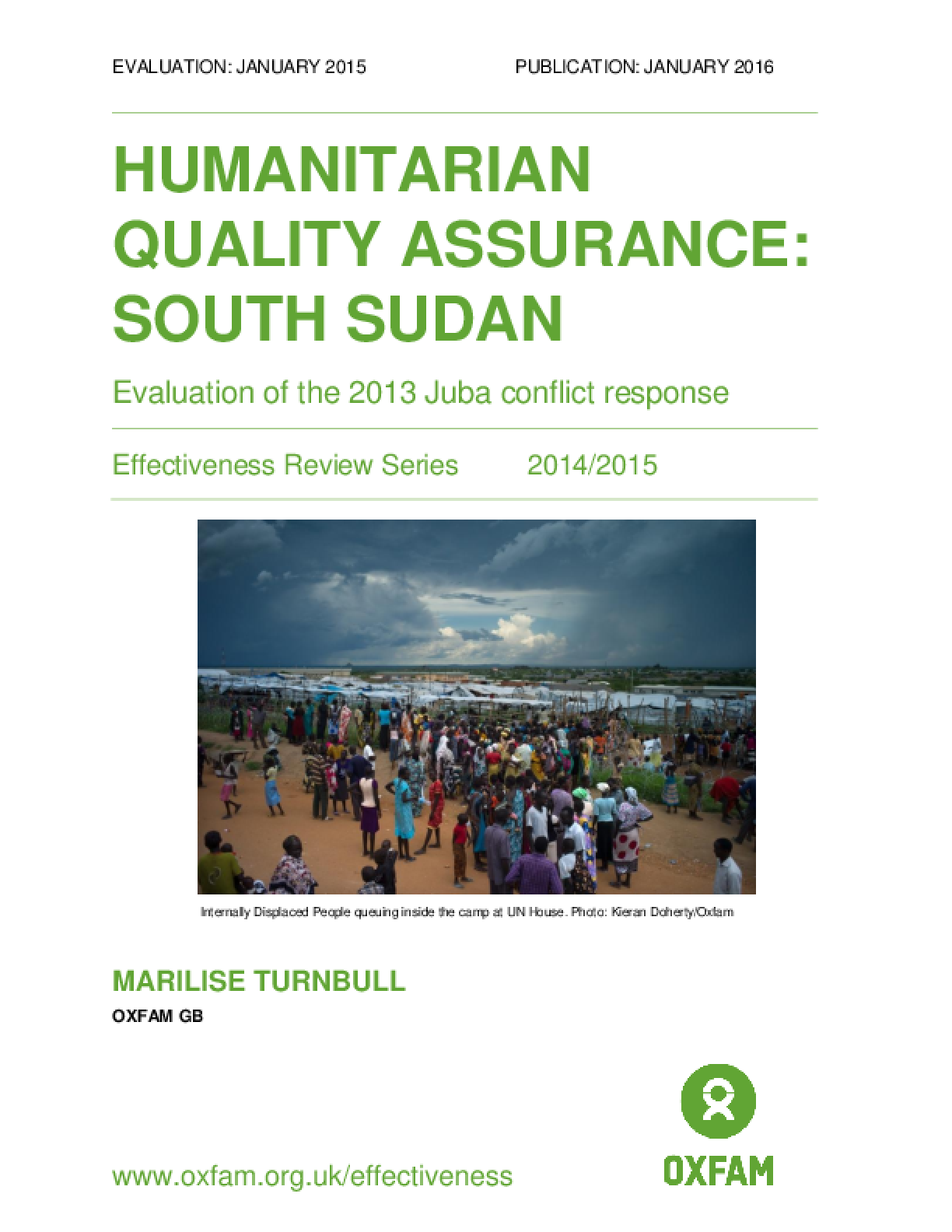 Humanitarian Quality Assurance - South Sudan: Evaluation of the 2013 Juba conflict response