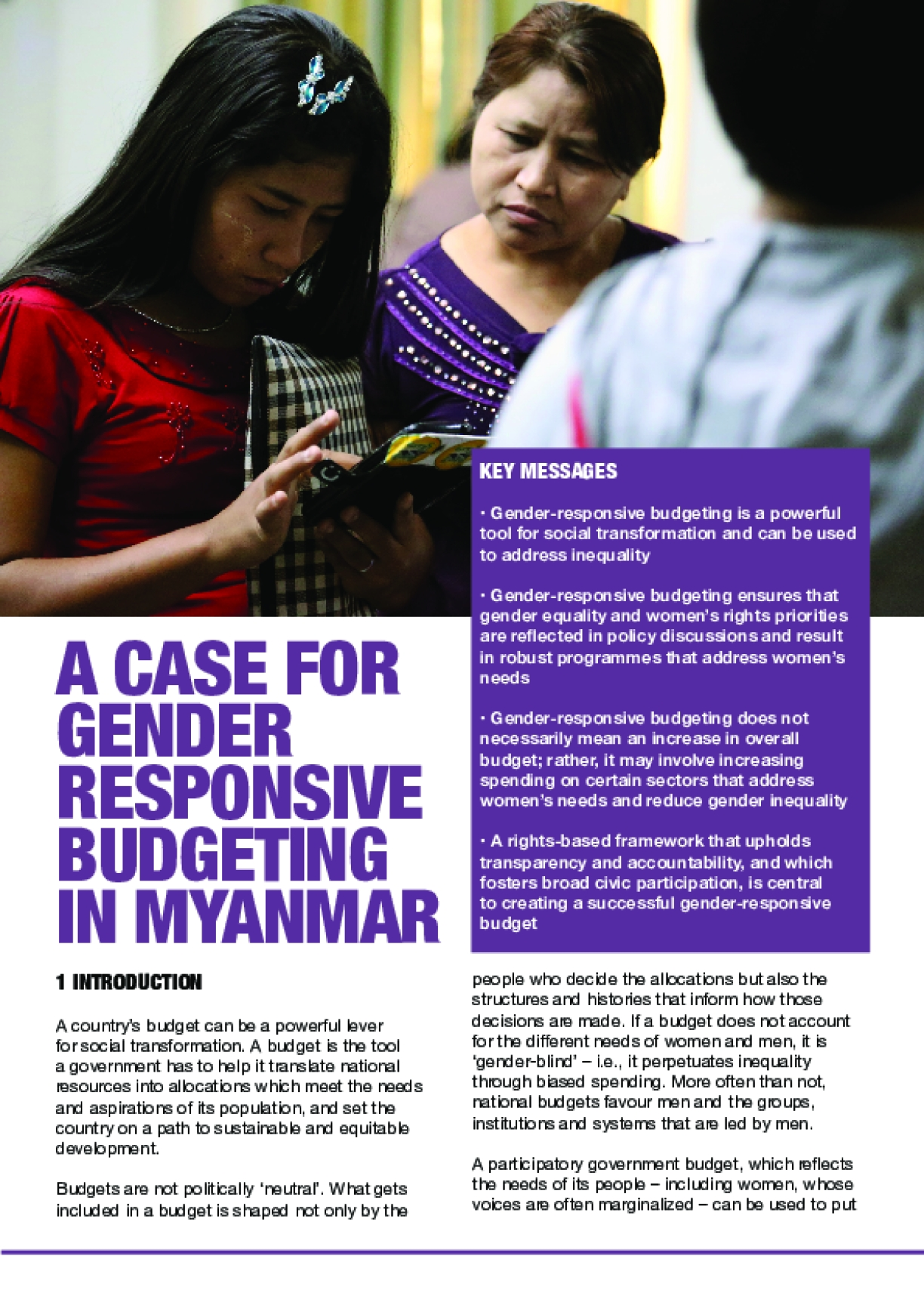 A Case for Gender-Responsive Budgeting in Myanmar