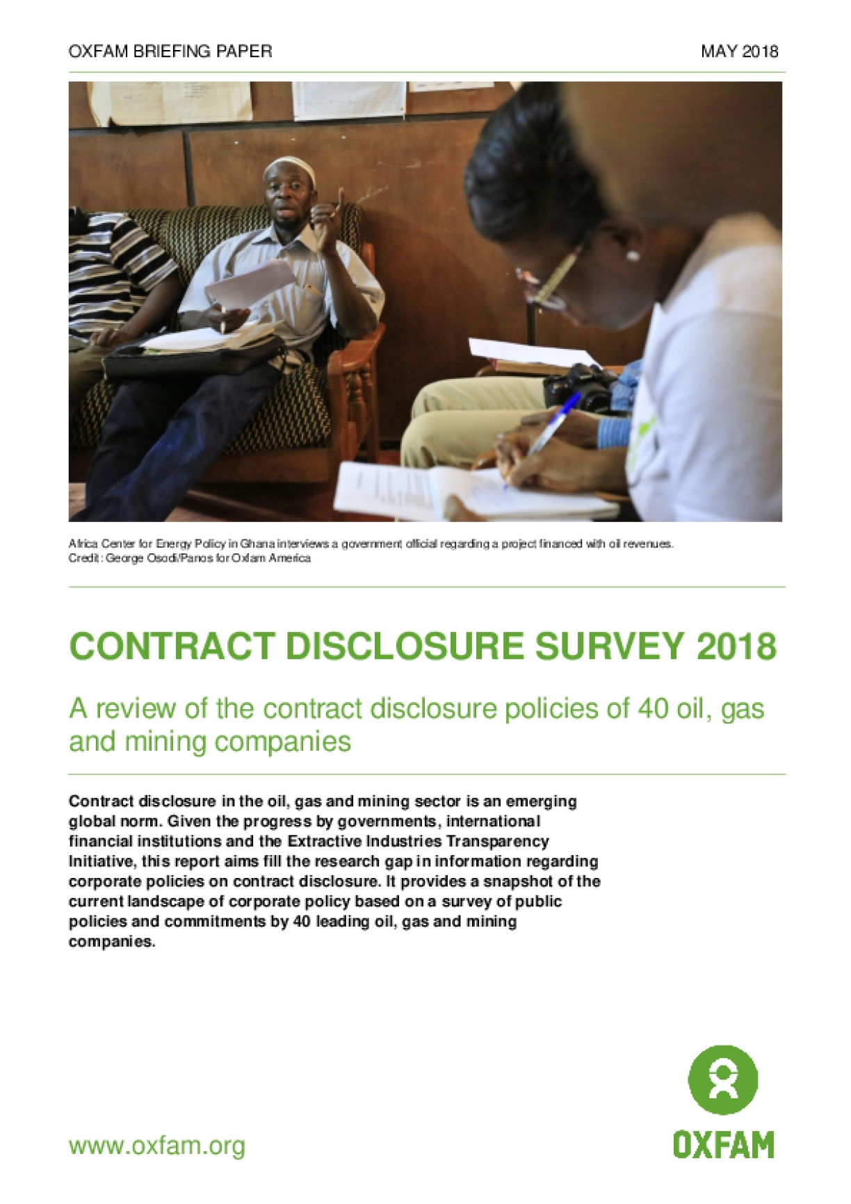 Contract Disclosure Survey 2018: A Review of the Contract Disclosure Policies of 40 Oil, Gas and Mining Companies